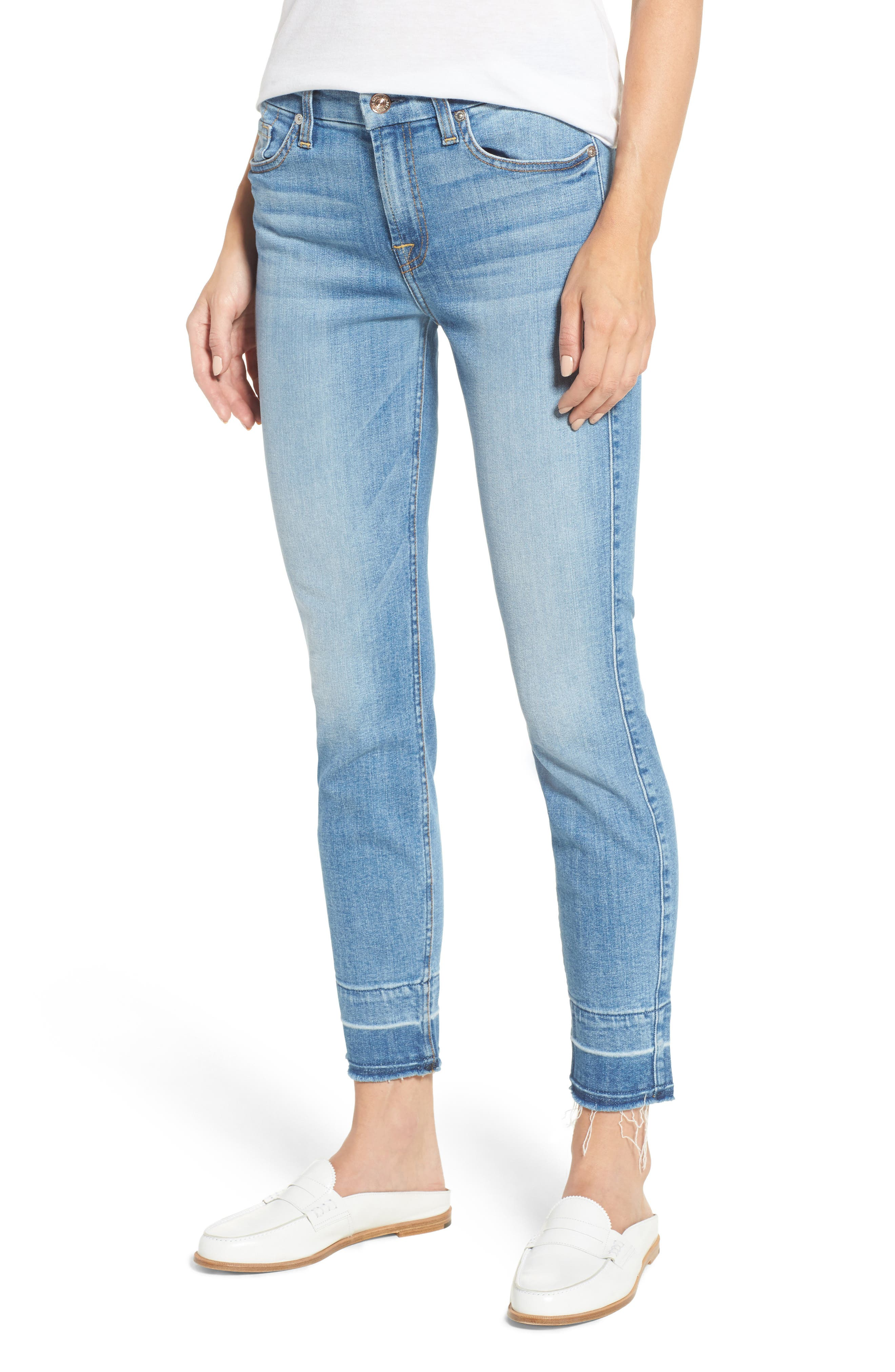7 FOR ALL MANKIND<SUP>®</SUP>,                             The Ankle Release Hem Skinny Jeans,                             Main thumbnail 1, color,                             400