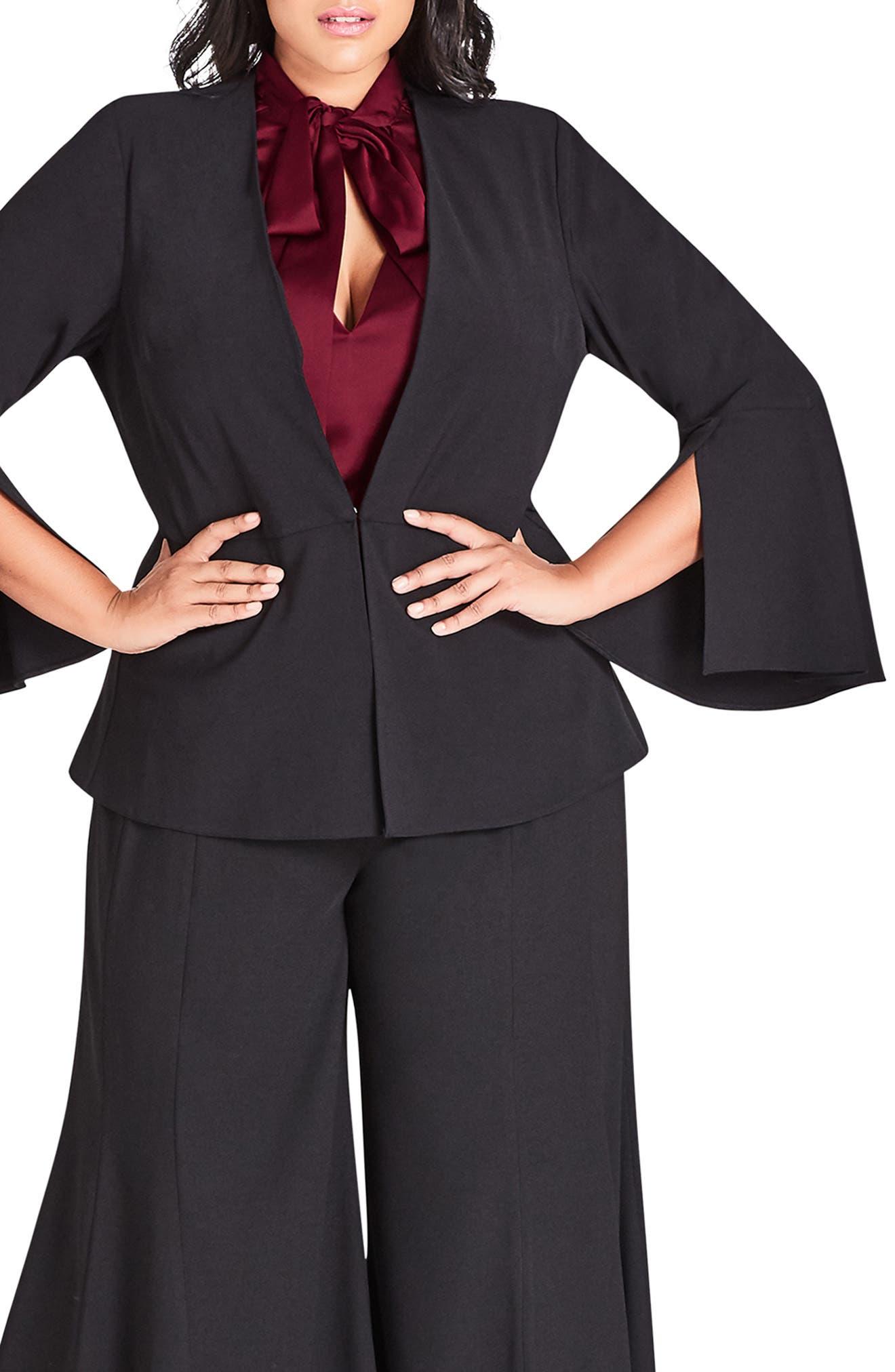 Noveau Fancy Split Sleeve Jacket,                         Main,                         color, BLACK