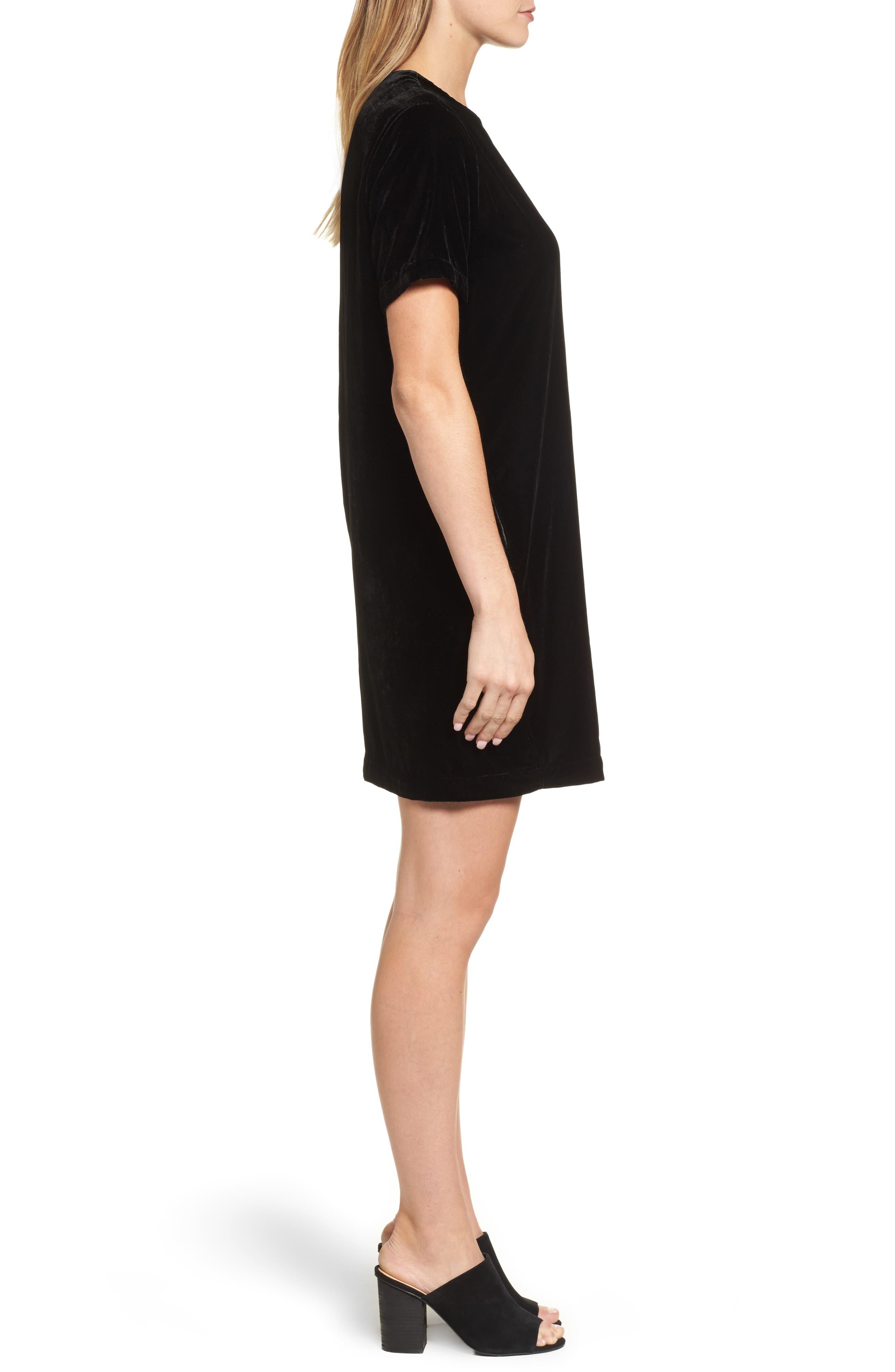 Zip Shoulder Velvet Shift Dress,                             Alternate thumbnail 3, color,                             001
