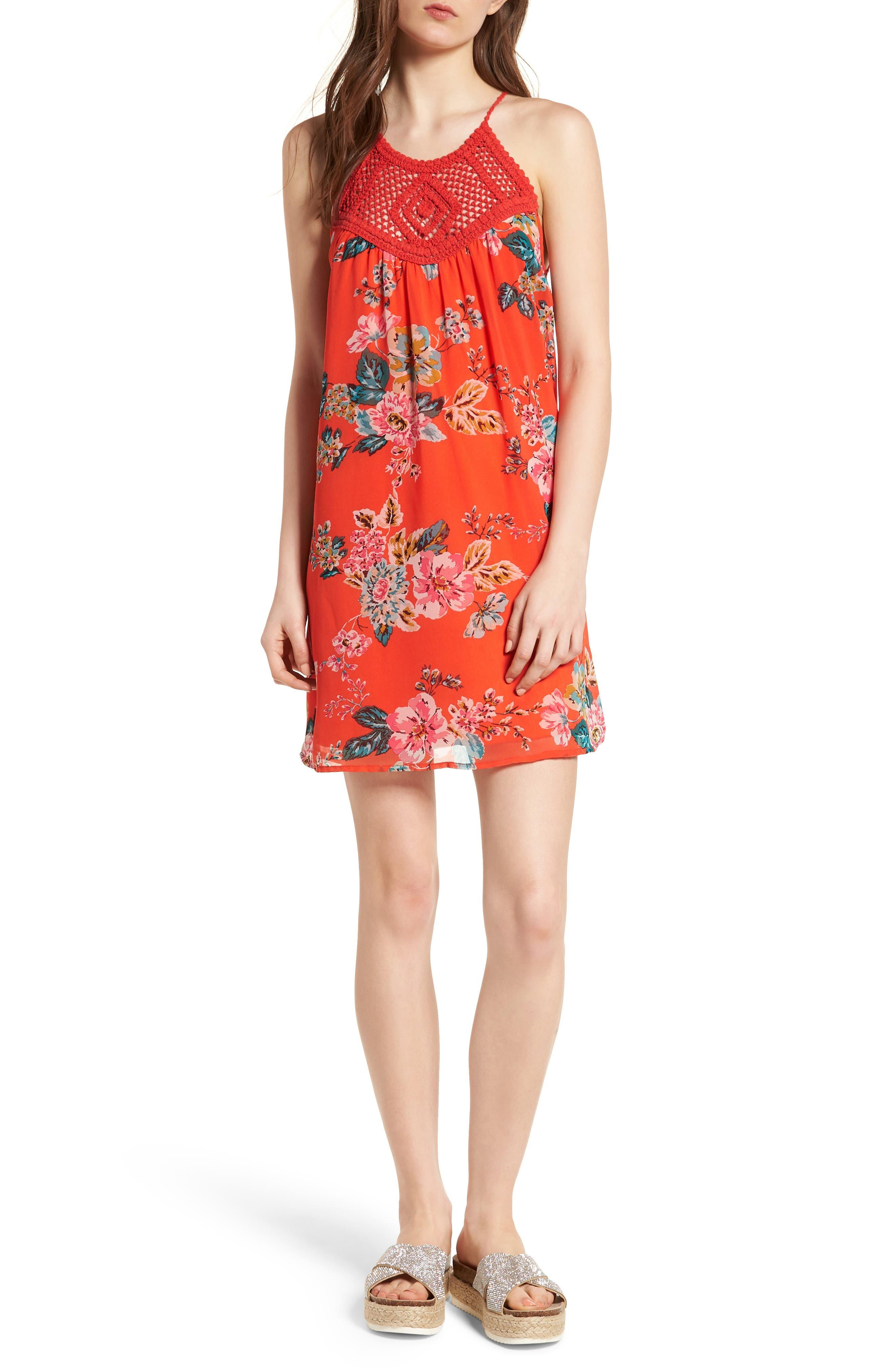 SPEECHLESS Crochet Swing Dress, Main, color, 800