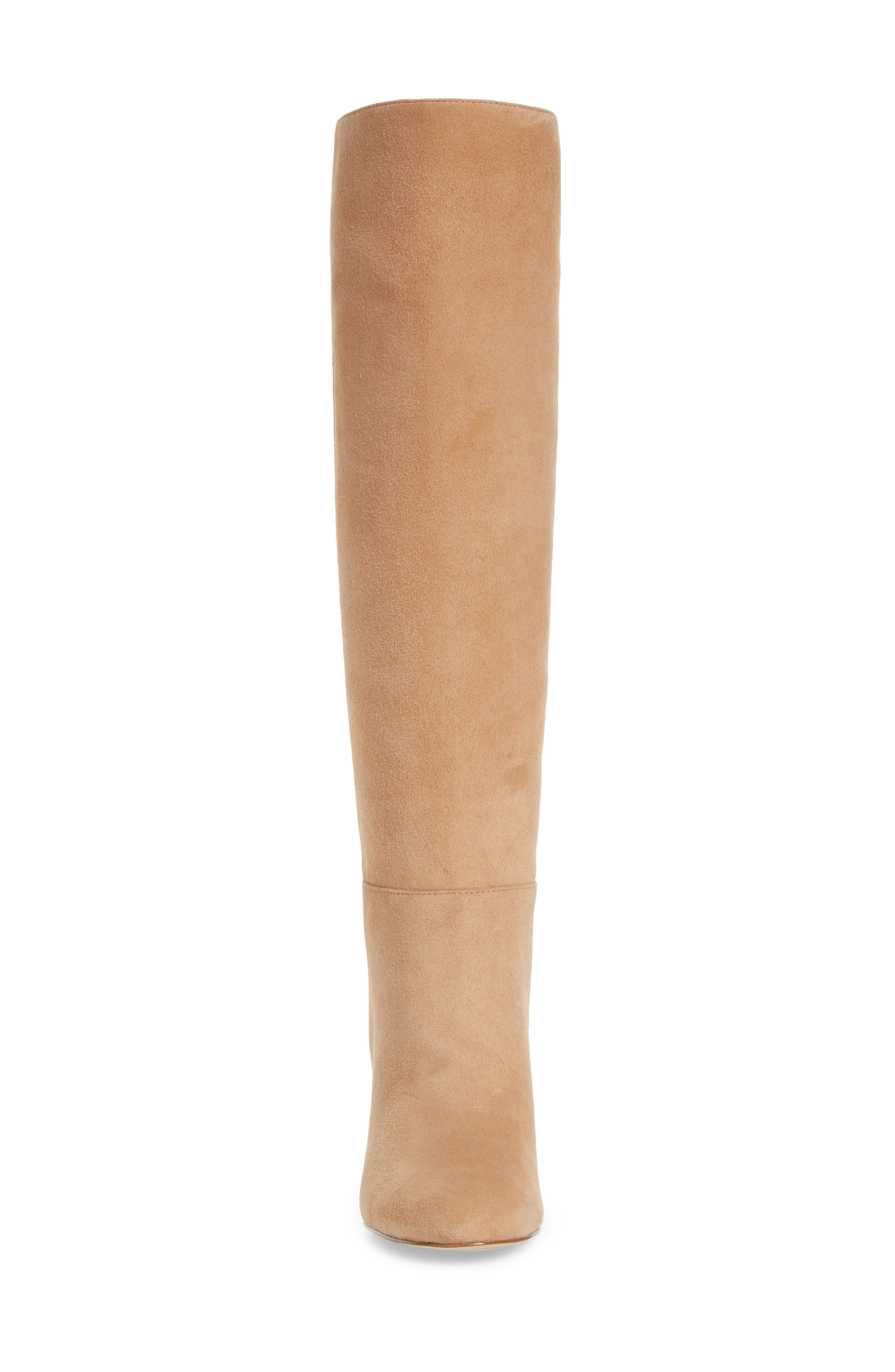 Caprice Knee-High Boot,                             Alternate thumbnail 4, color,                             GOLDEN CARAMEL SUEDE