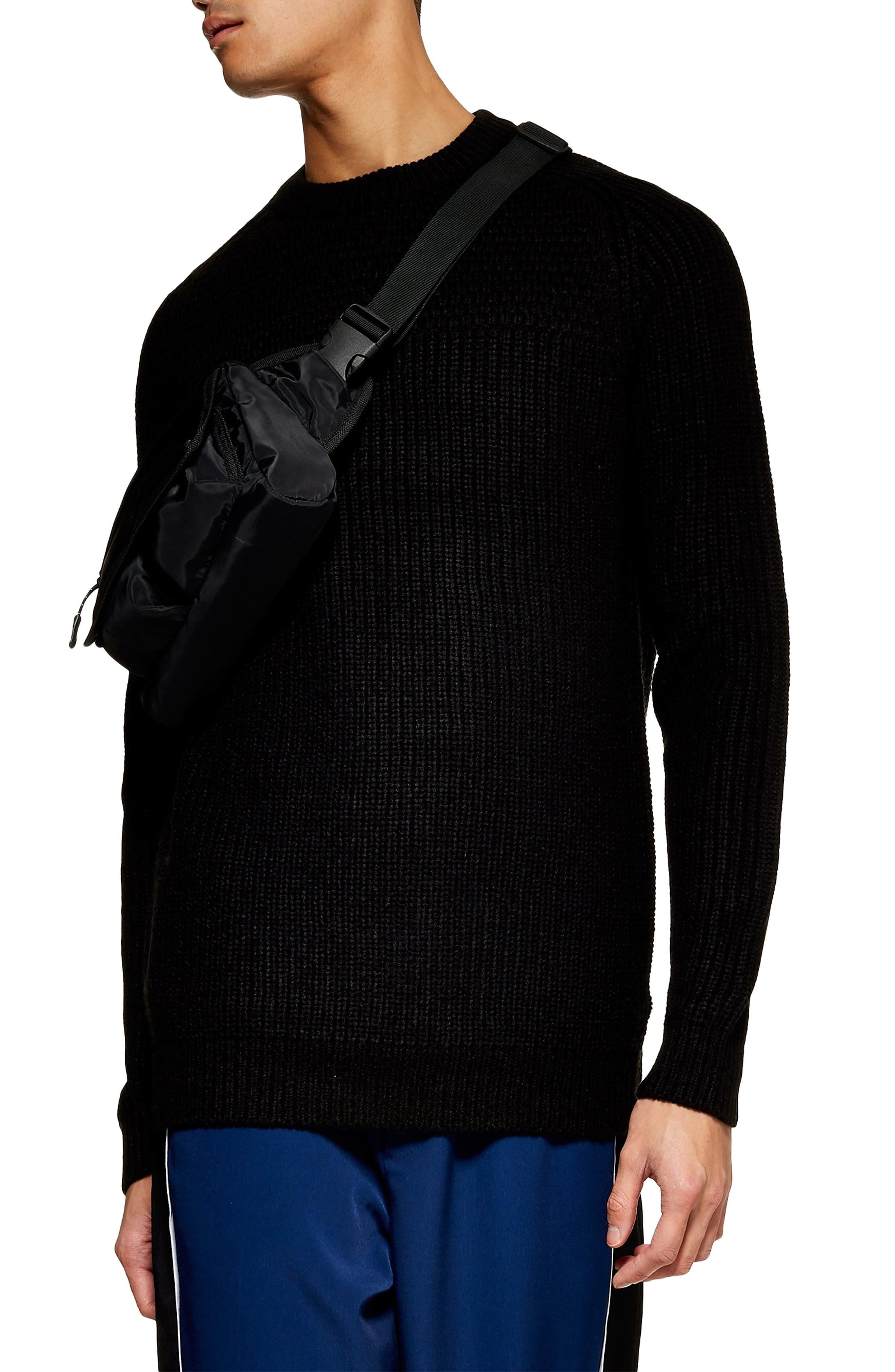 Topman Mixed Stitch Classic Crewneck Sweater, Black