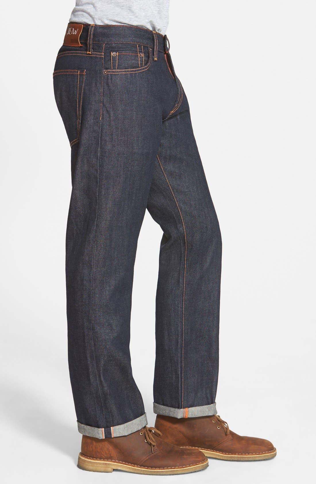 'Rocker' Straight Leg Selvedge Jeans,                             Alternate thumbnail 3, color,                             419