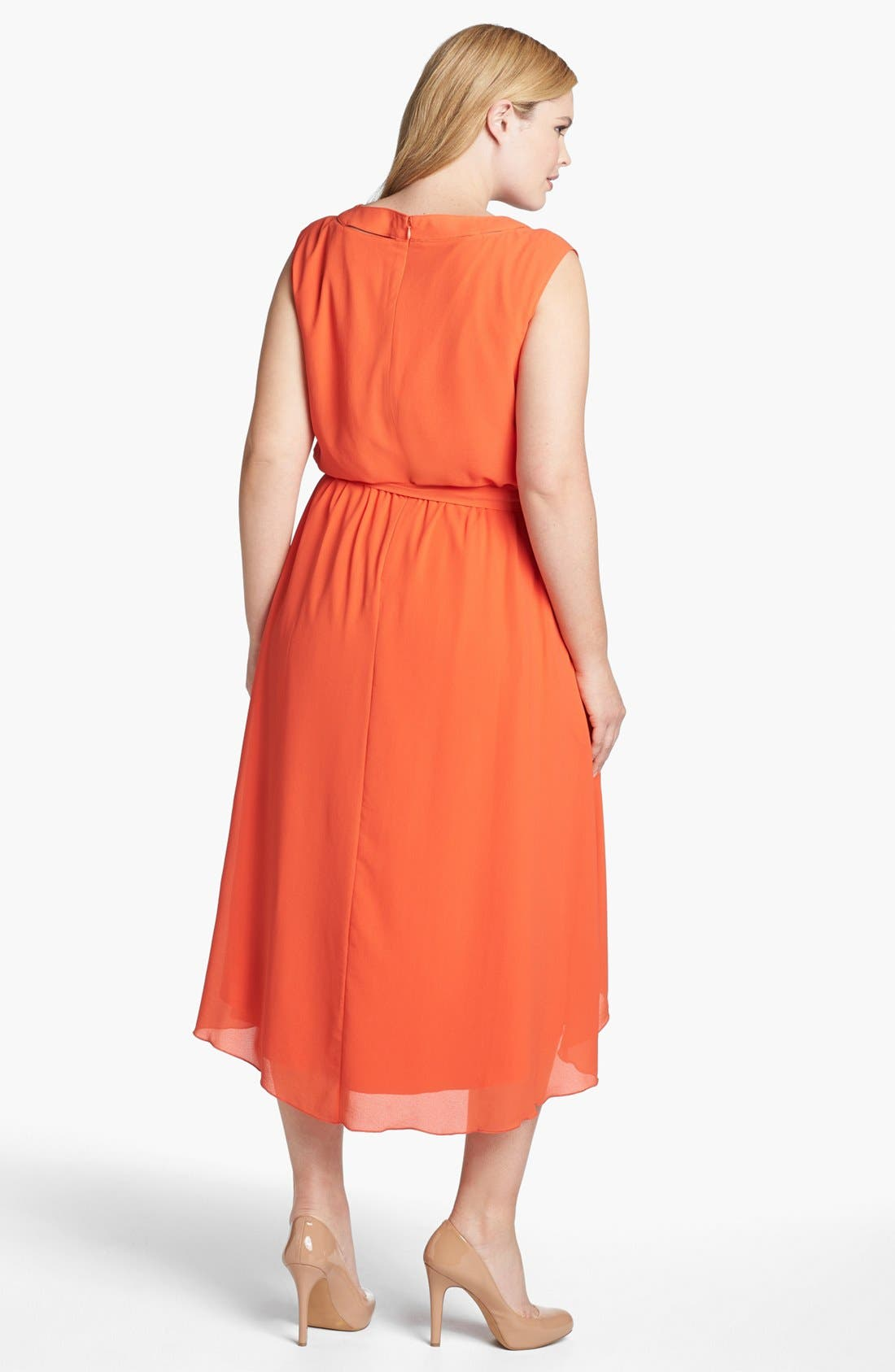 Blouson High/Low Crepe Dress,                             Alternate thumbnail 4, color,