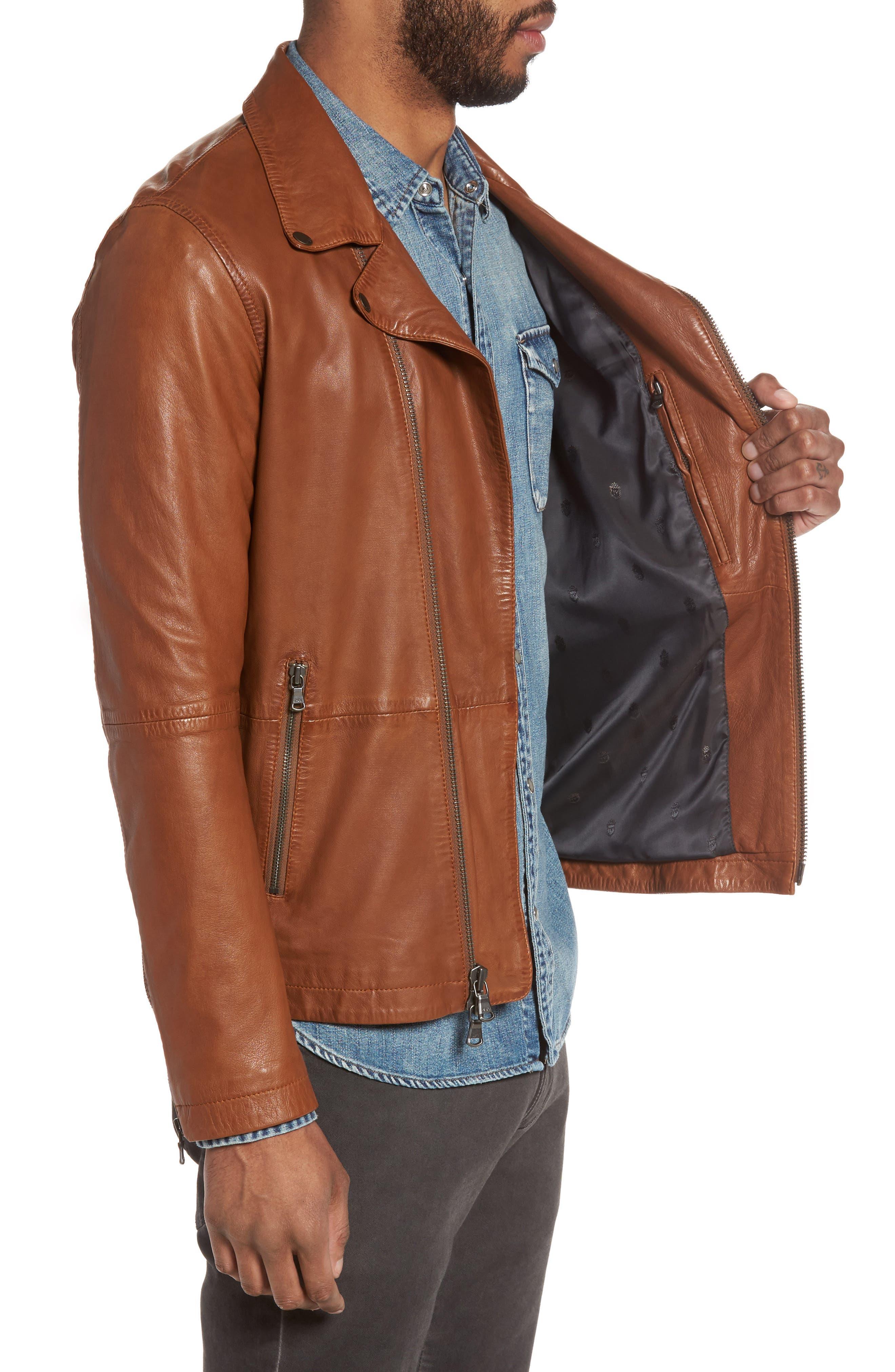 Leather Moto Jacket,                             Alternate thumbnail 3, color,                             240
