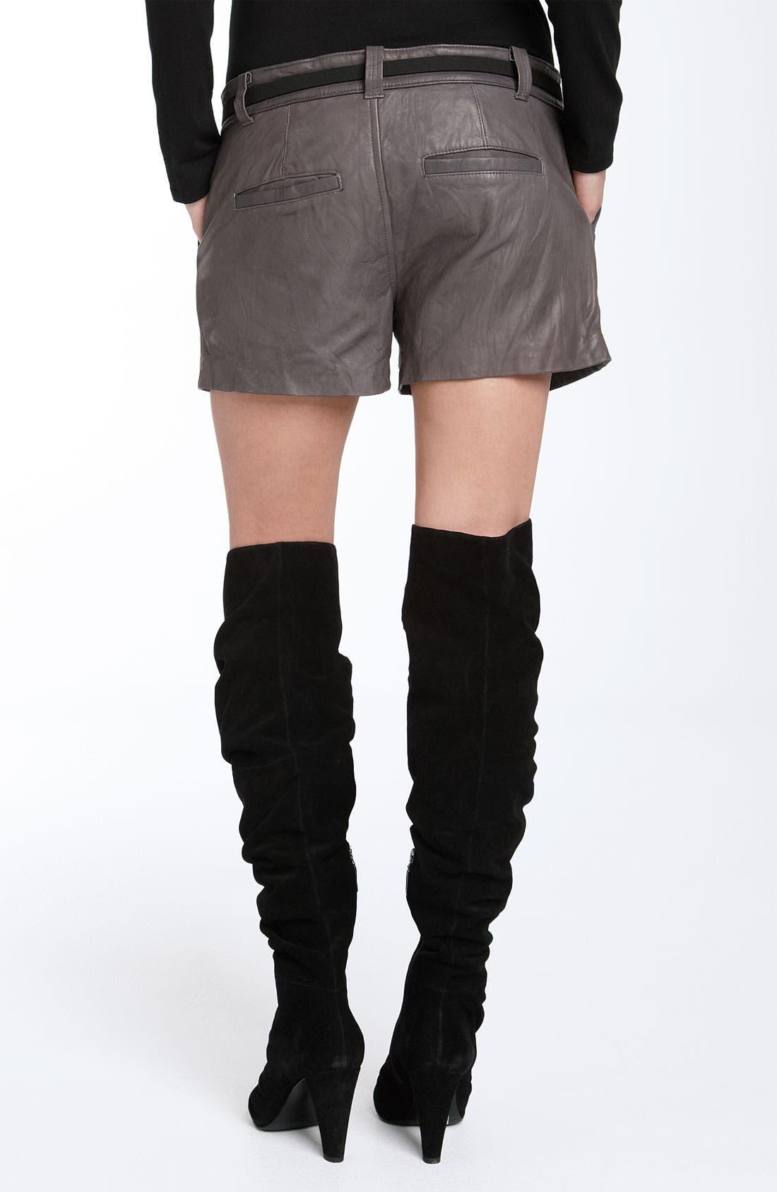 'Denver' Leather Shorts,                             Alternate thumbnail 2, color,                             020