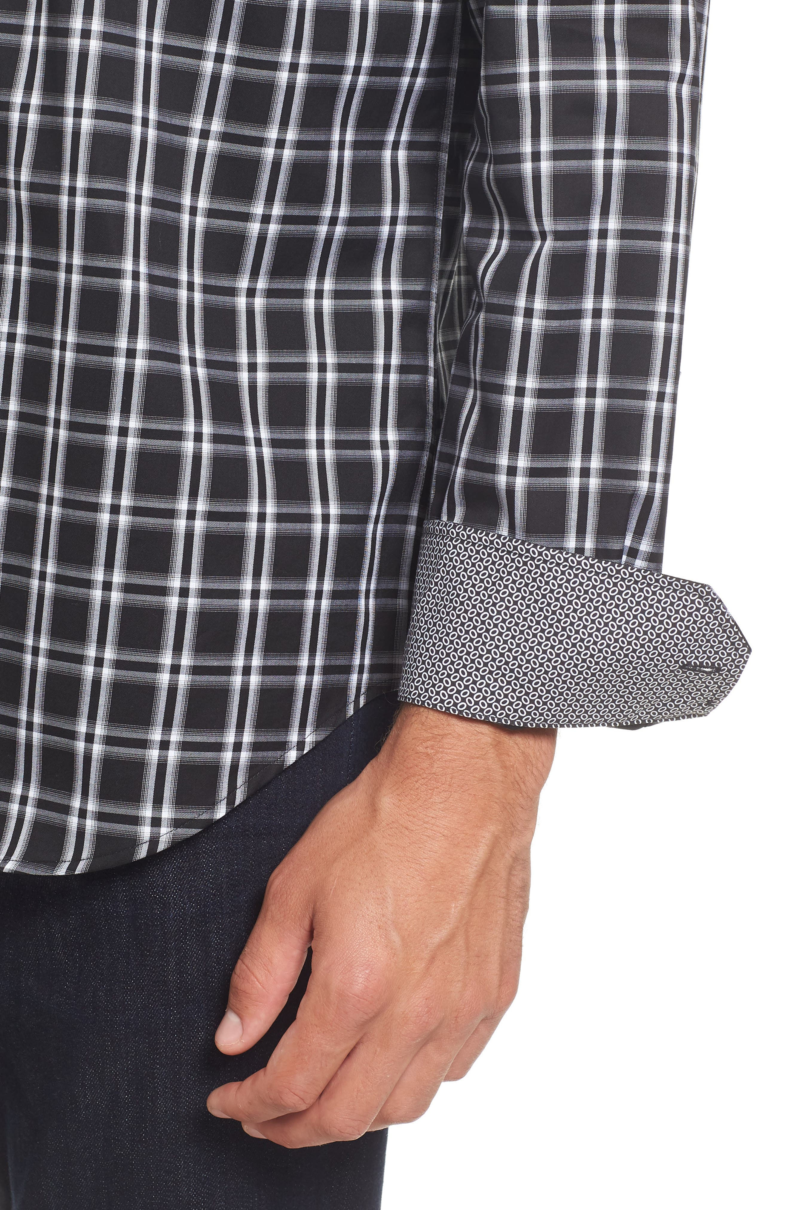 Slim Fit Check Sport Shirt,                             Alternate thumbnail 4, color,                             001
