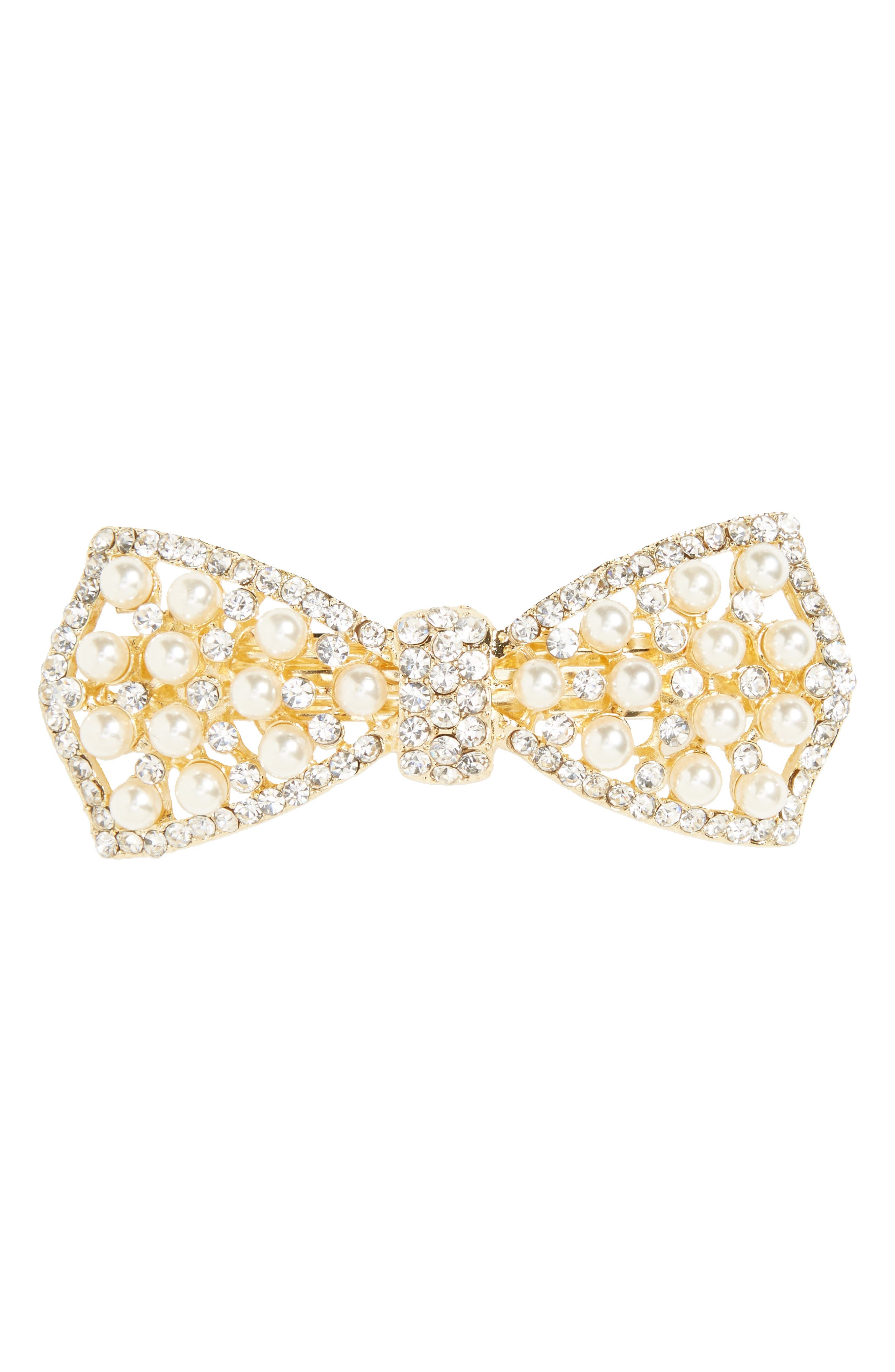 Imitation Pearl & Crystal Barrette,                         Main,                         color, 710