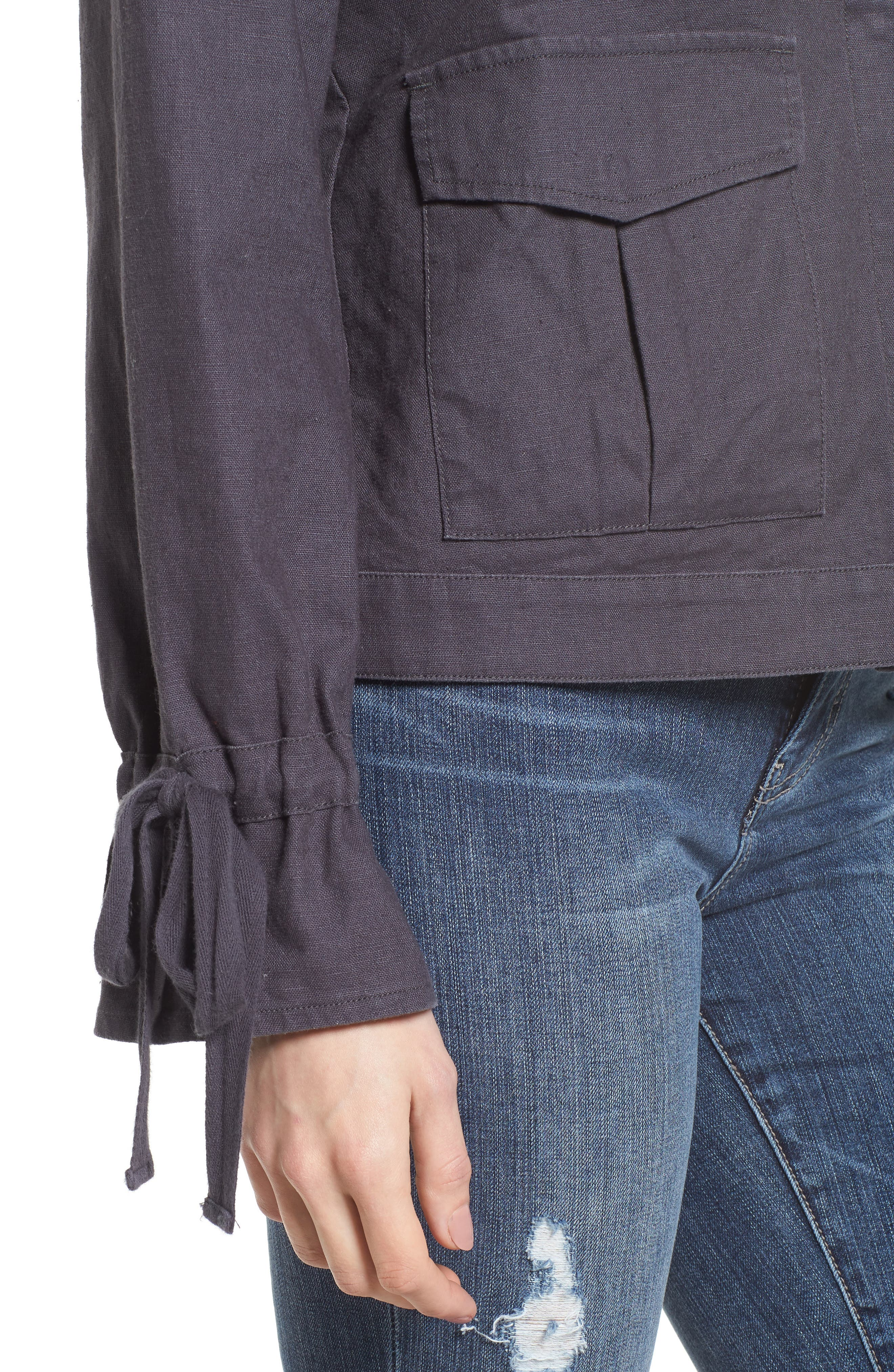 Tie Sleeve Linen & Cotton Jacket,                             Alternate thumbnail 4, color,                             030