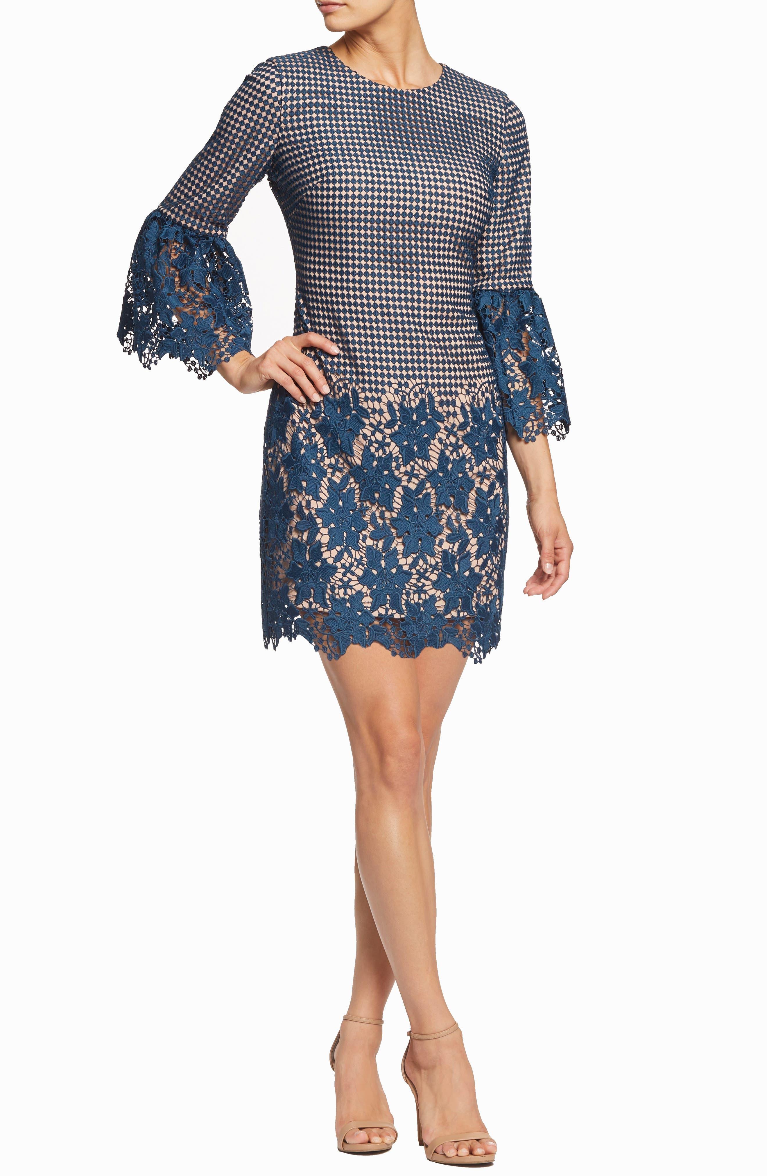 Dress The Population Crochet Minidress, Blue