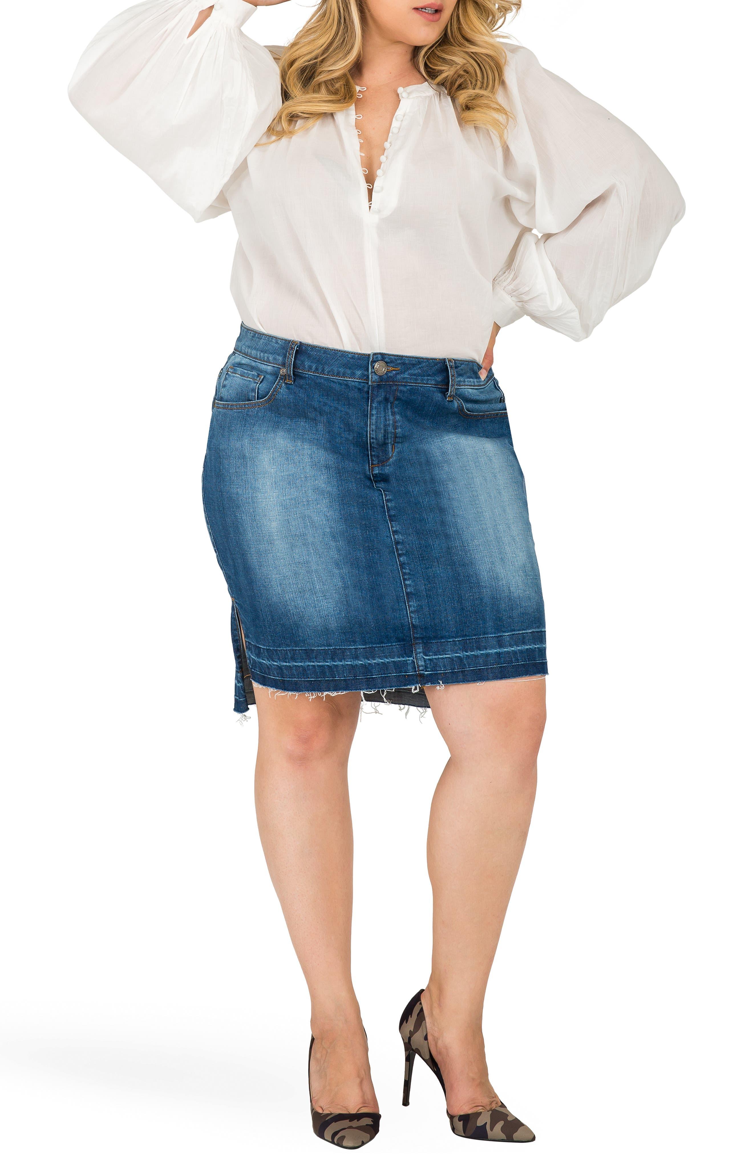 Dariah Released Step Hem Denim Skirt,                             Alternate thumbnail 4, color,                             BLUE