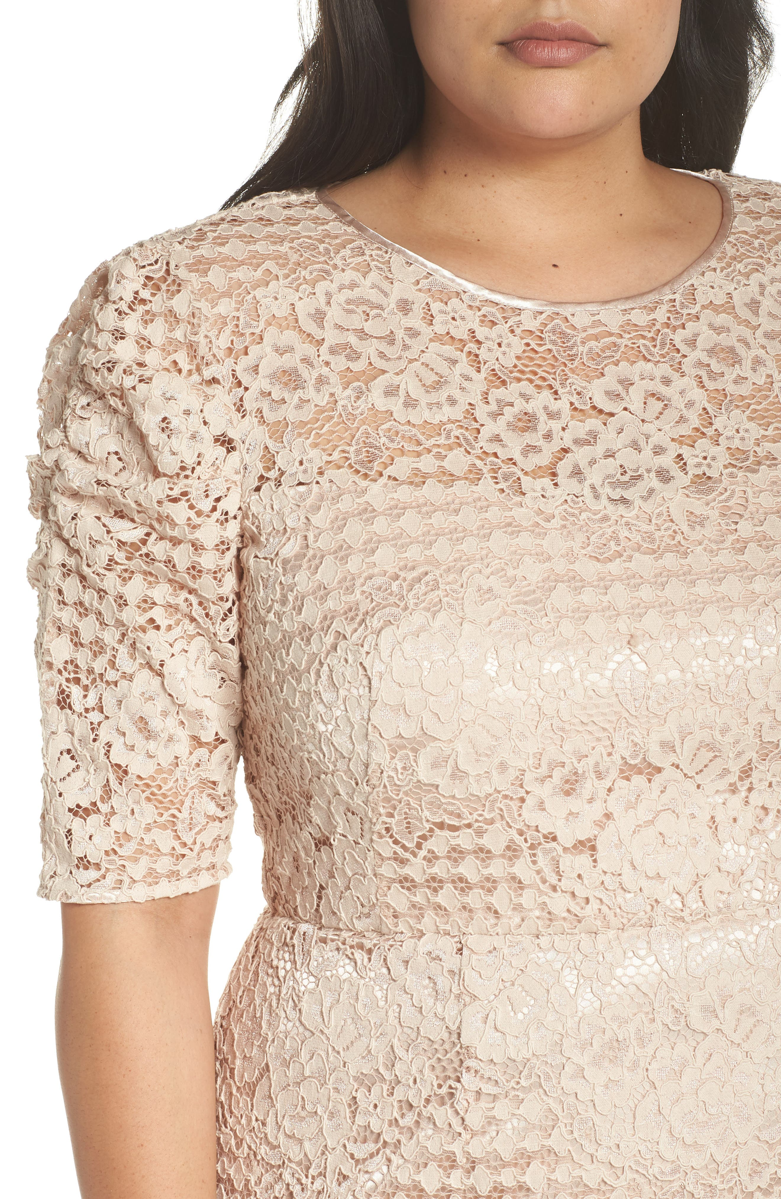 Ruched Sleeve Lace Dress,                             Alternate thumbnail 11, color,                             PINK BLUSH