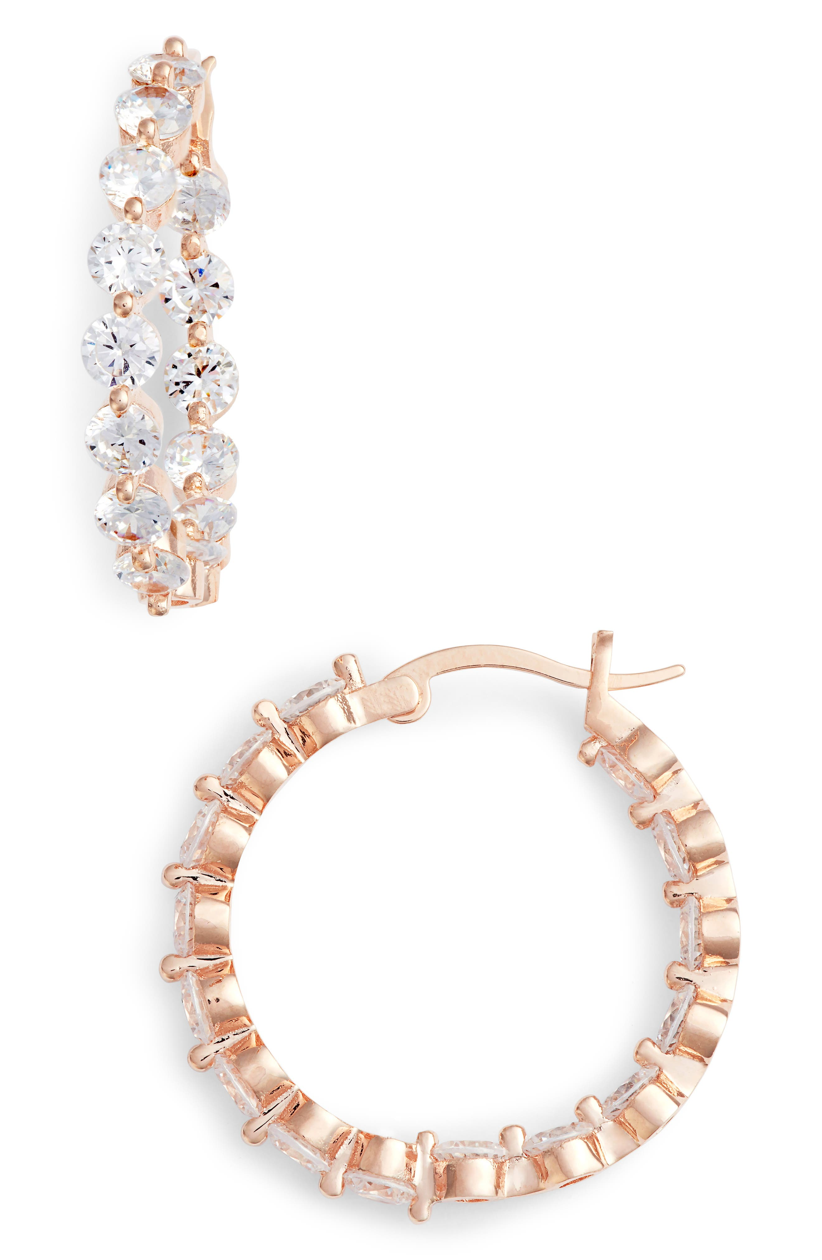 Medium Cubic Zirconia Hoop Earrings,                             Main thumbnail 1, color,                             ROSE GOLD/ WHITE CZ
