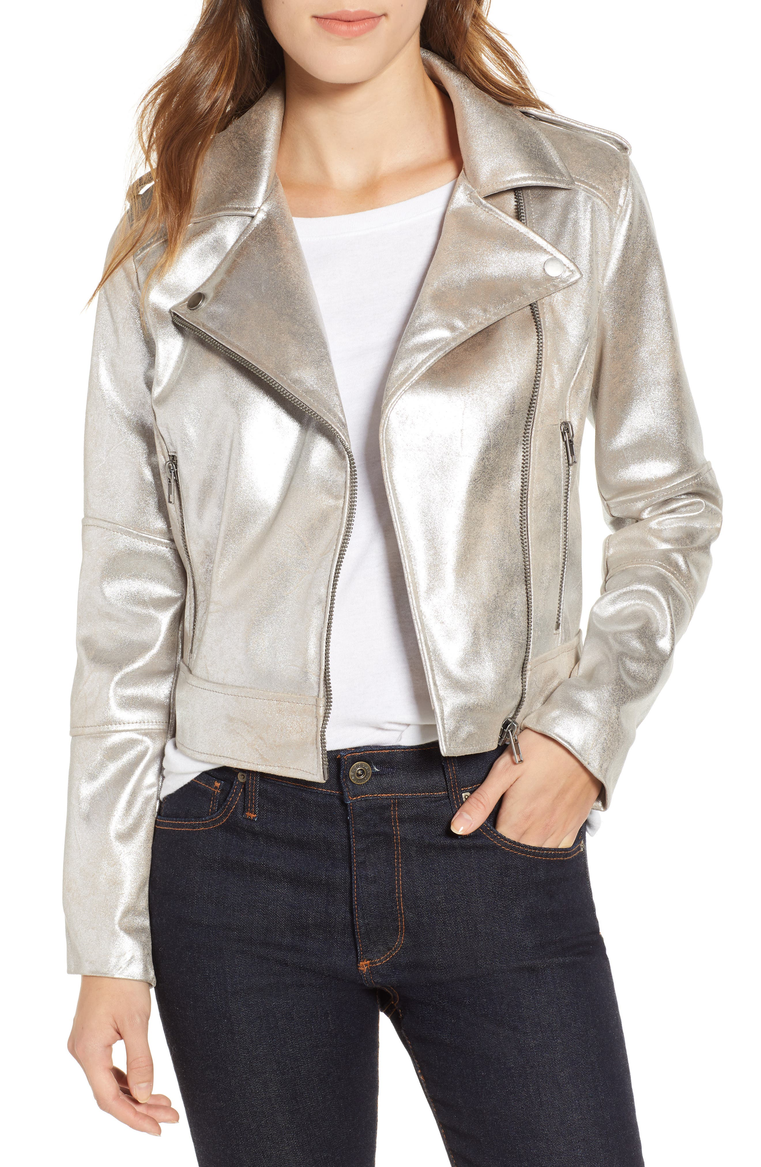 CUPCAKES AND CASHMERE,                             Foiled Faux Suede Moto Jacket,                             Main thumbnail 1, color,                             SILVER TOFFEE