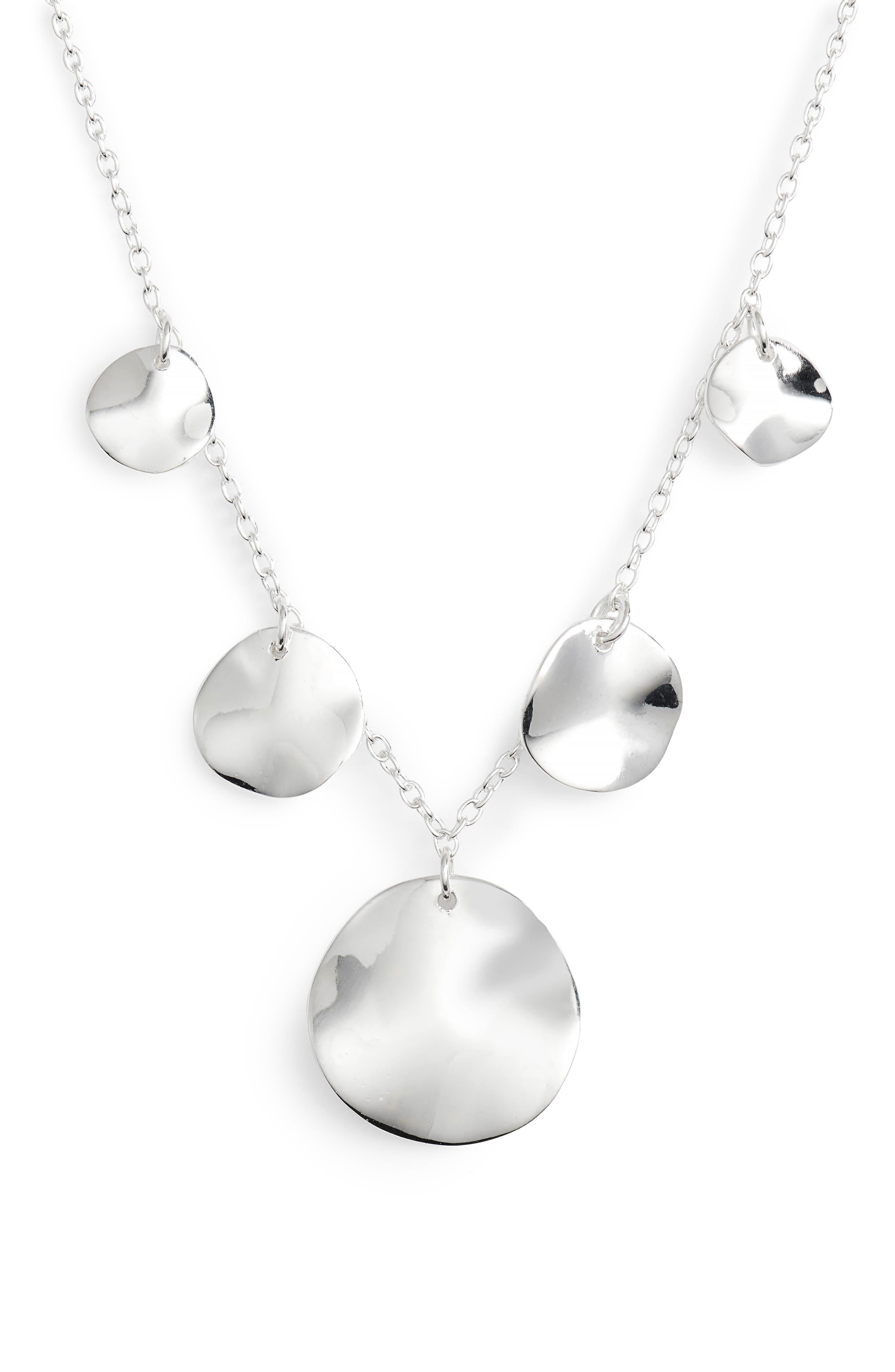 Flat Disc Drop Necklace,                         Main,                         color, 043
