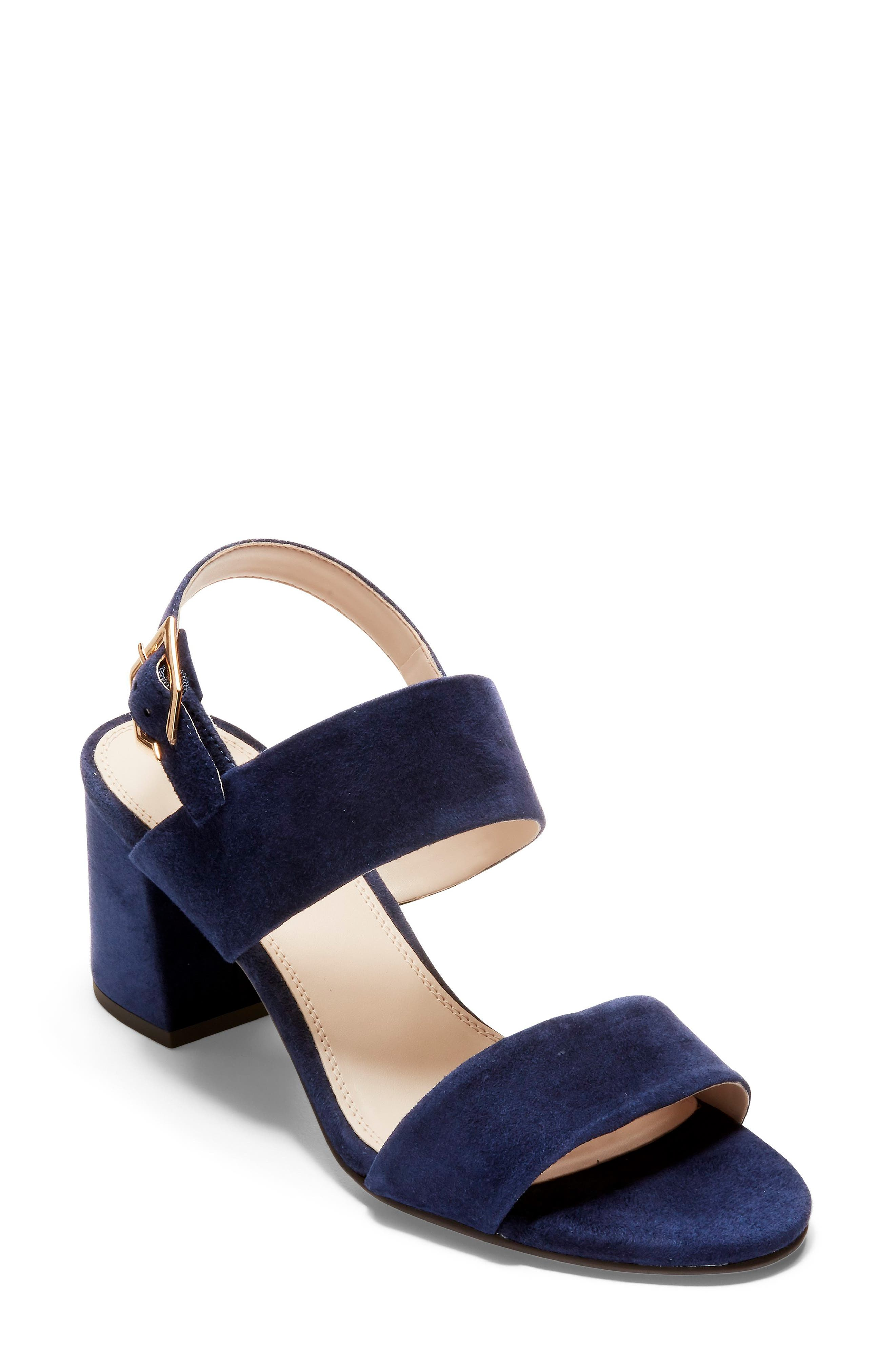 Avani Block Heel Sandal,                             Main thumbnail 1, color,                             MARINE BLUE SUEDE