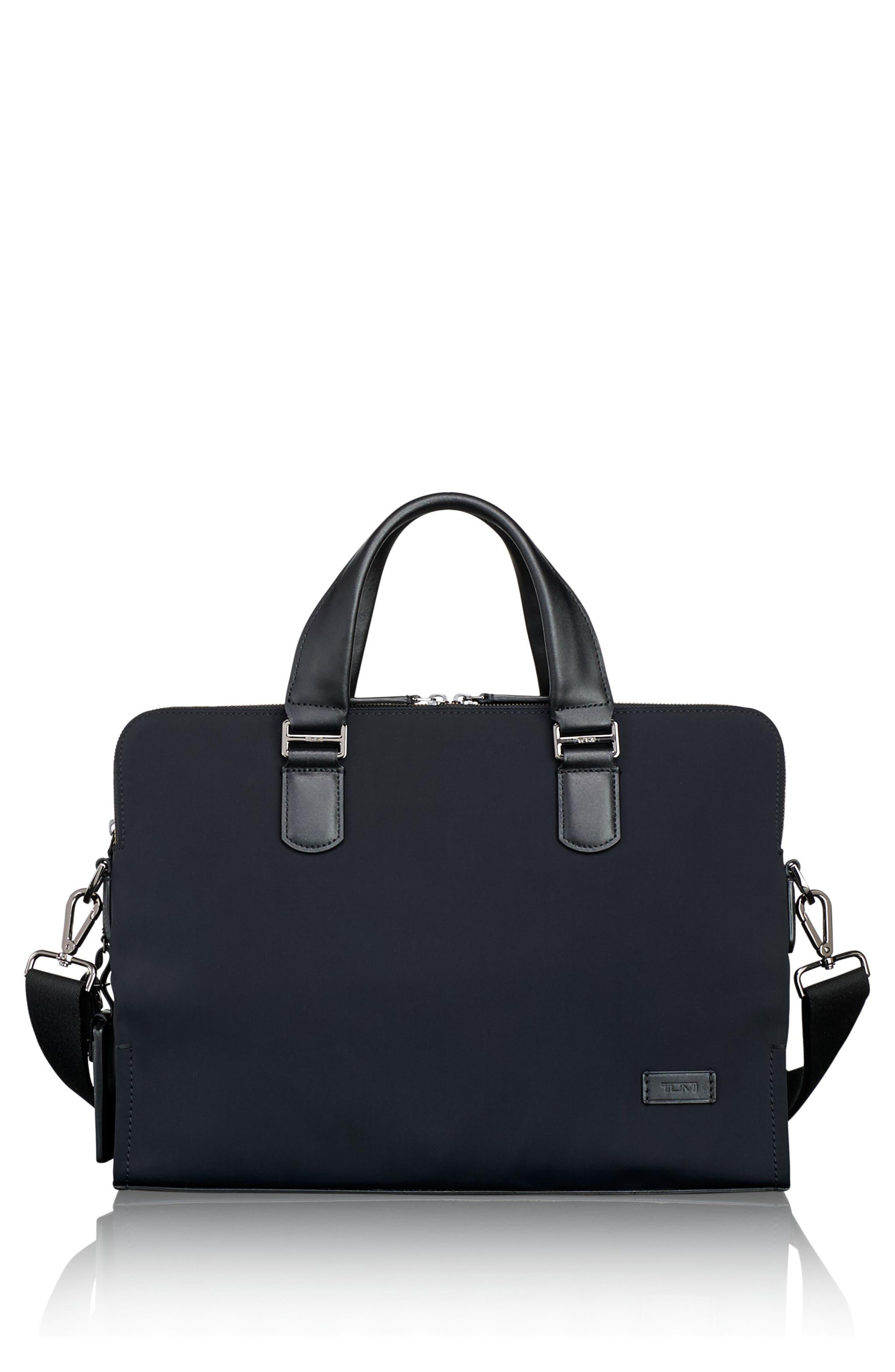 Harrison Seneca Slim Briefcase,                         Main,                         color, BLACK NYLON
