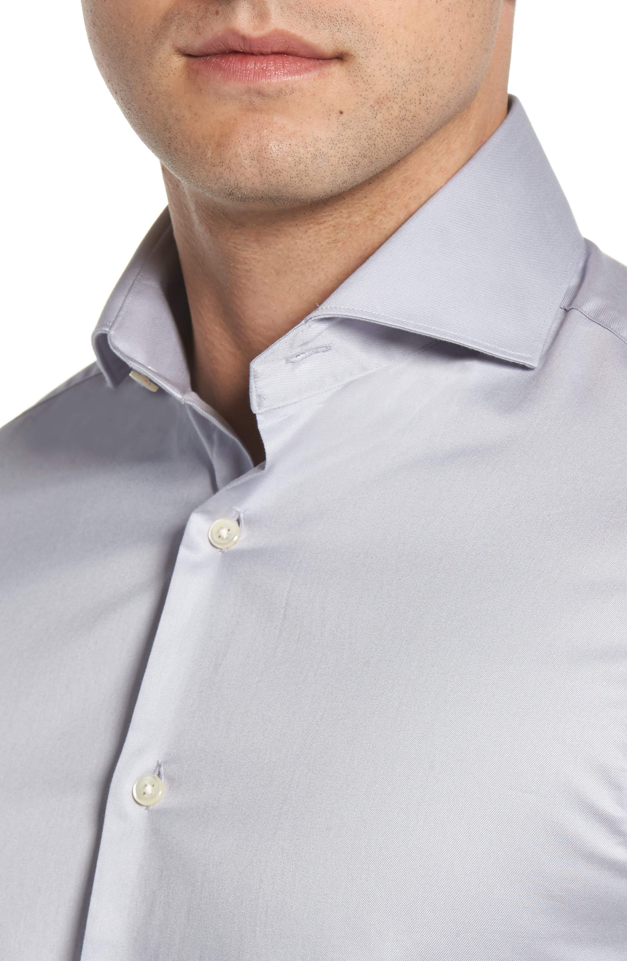 Regular Fit Solid Dress Shirt,                             Alternate thumbnail 2, color,                             SILVER
