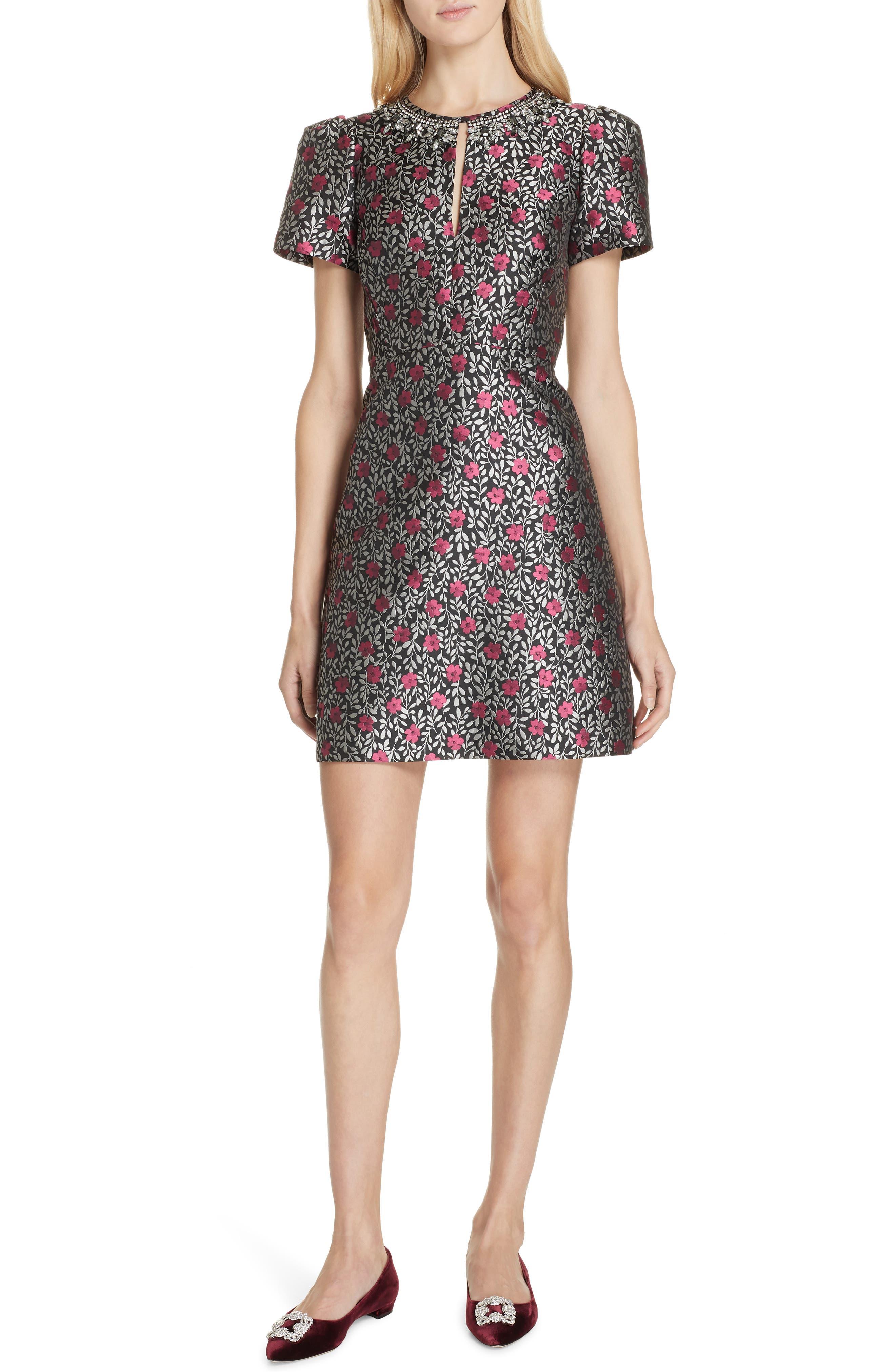 Kate Spade New York Floral Park Jacquard Fit & Flare Dress, Black