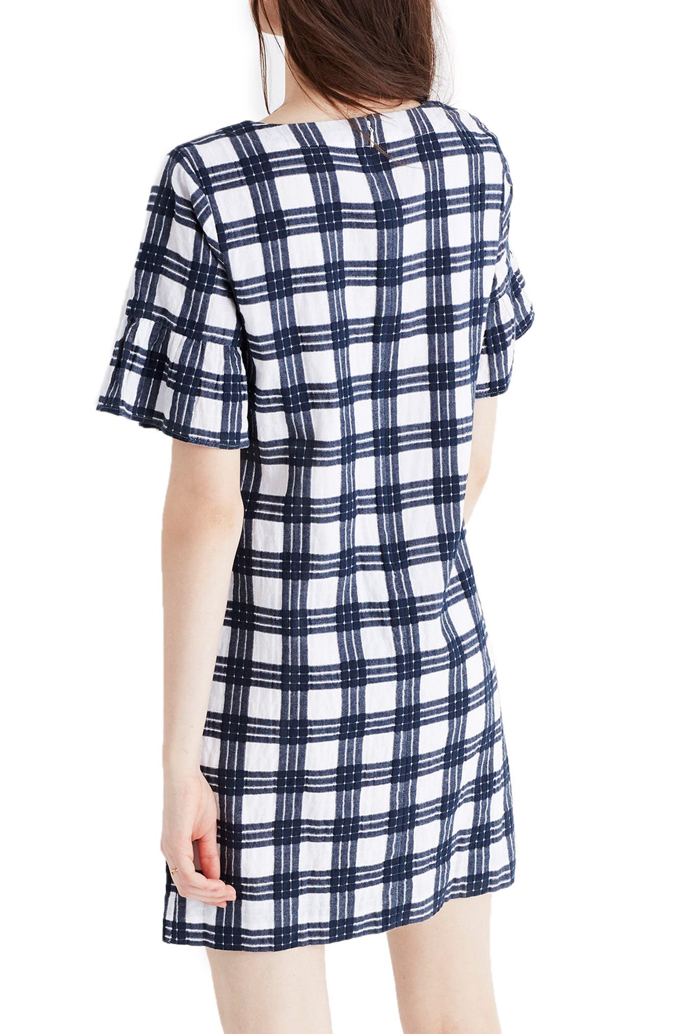 Leighton Plaid Bell Sleeve Dress,                             Alternate thumbnail 2, color,                             100