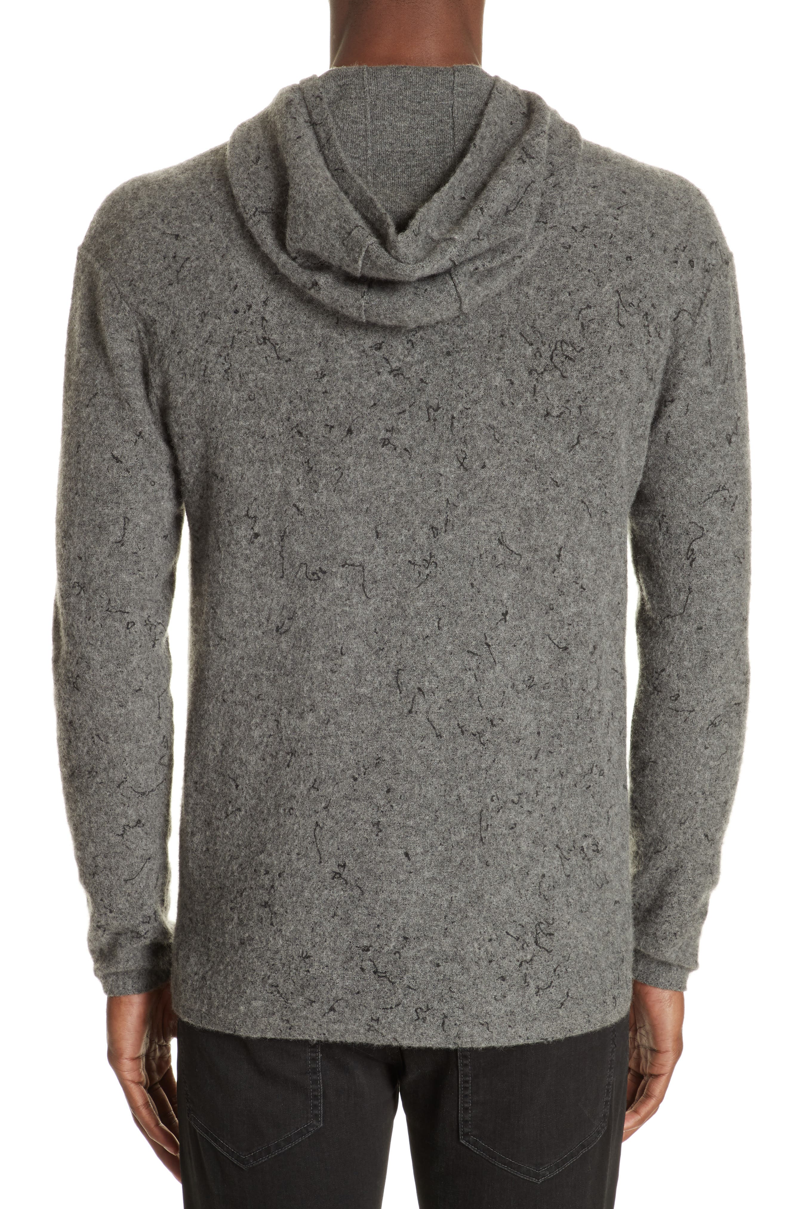 Wool Cashmere Hooded Sweater,                             Alternate thumbnail 2, color,                             SMOKE HEATHER