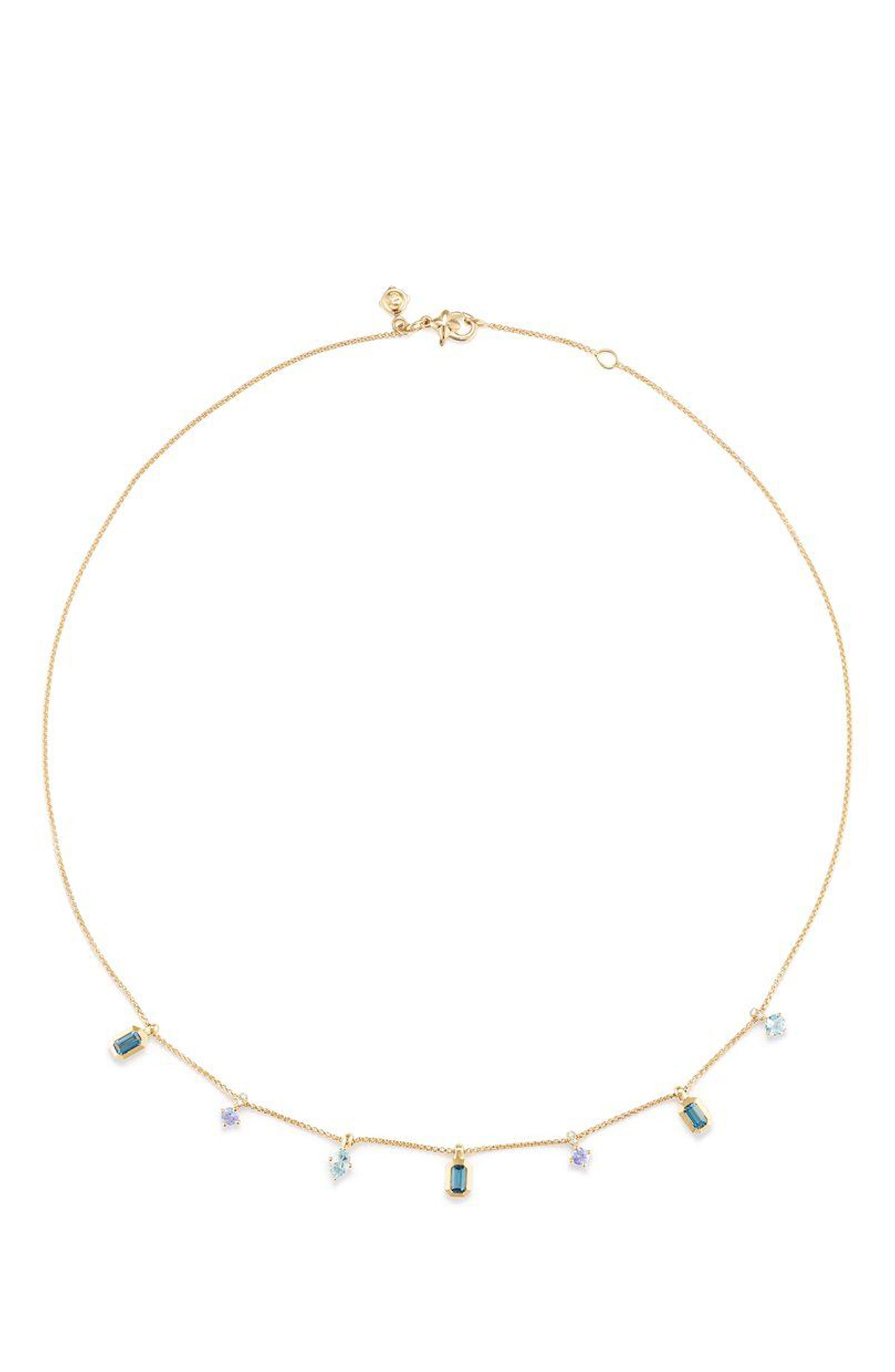 Novella Necklace in 18K Gold,                             Main thumbnail 1, color,                             GOLD/ DIAMOND/ BLUE TOPAZ