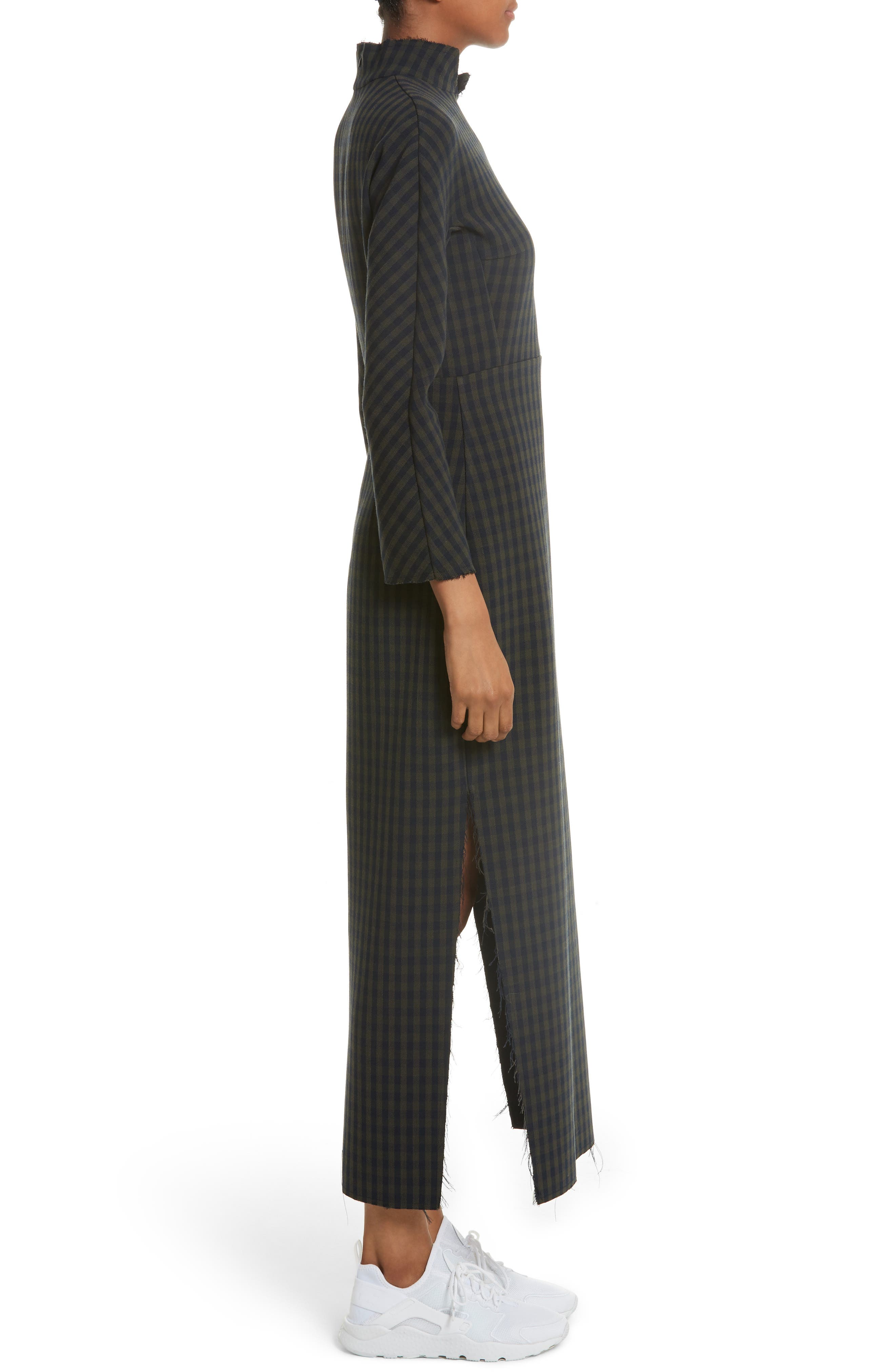 A.W.A.K.E.,                             Fitted Gingham Dress with Carved Wooden Buttons,                             Alternate thumbnail 3, color,                             300