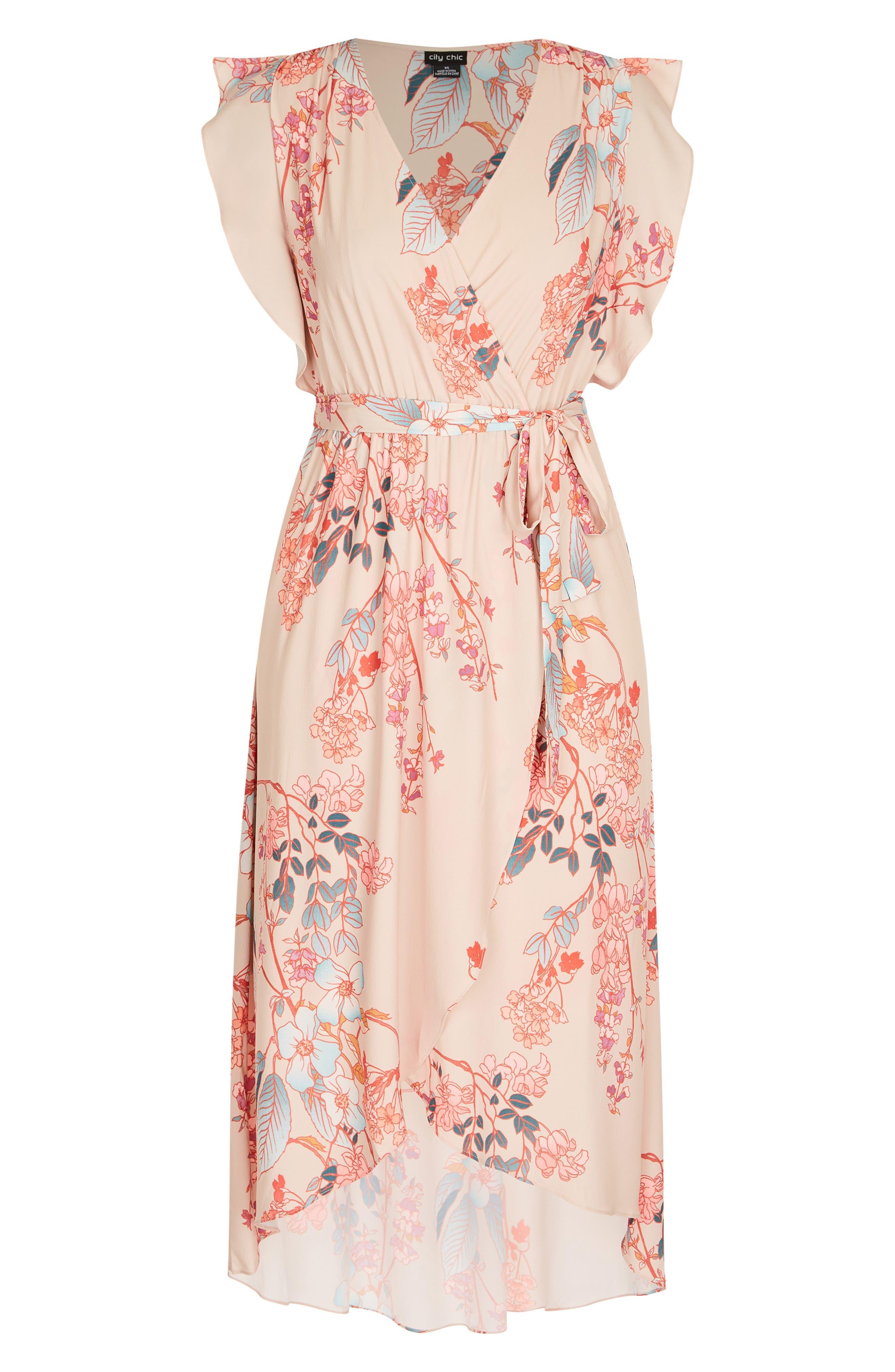 CITY CHIC,                             Sweet Delilah Faux Wrap Maxi Dress,                             Alternate thumbnail 3, color,                             SWEET DELILAH