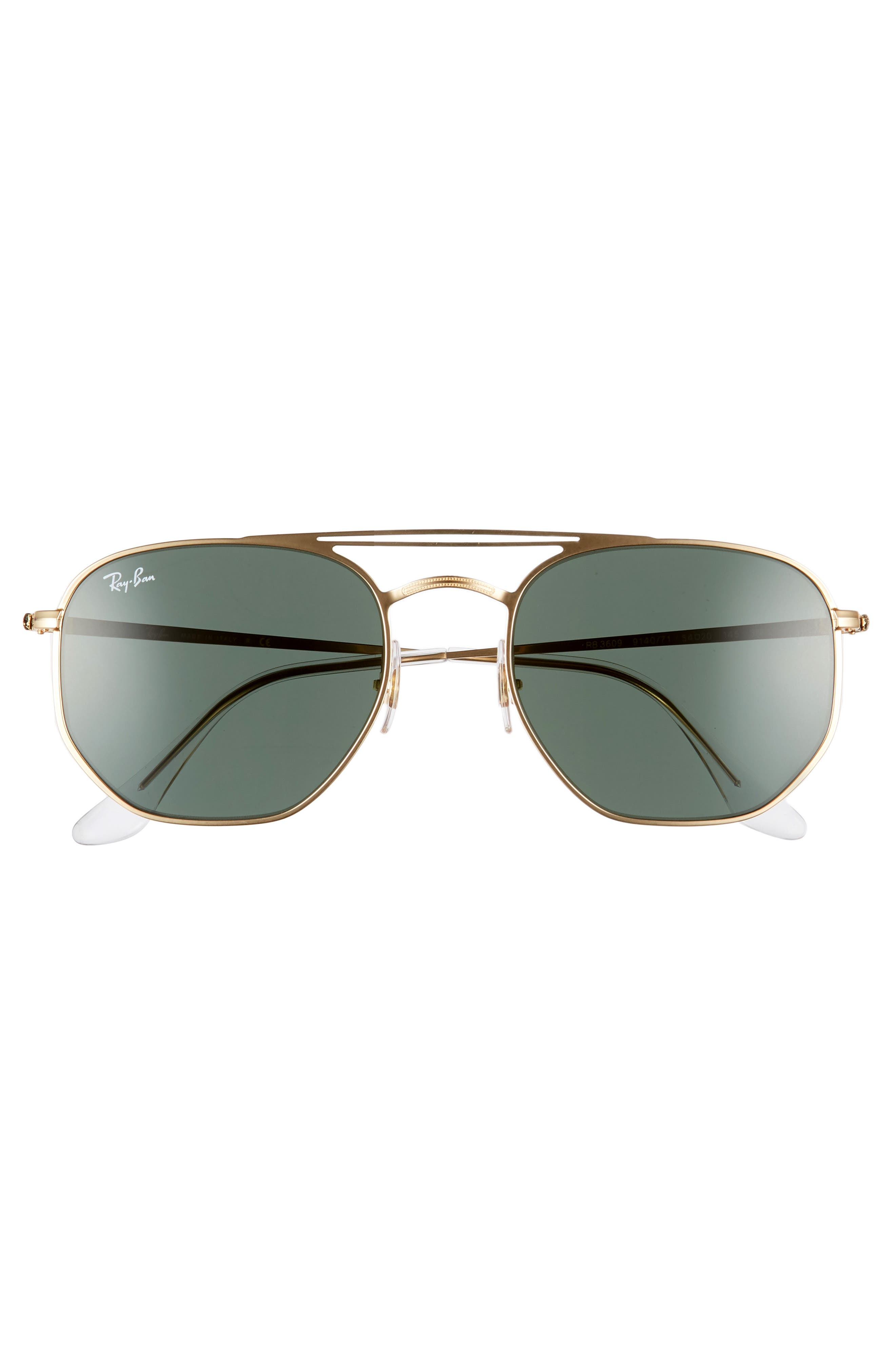 54mm Aviator Sunglasses,                             Alternate thumbnail 3, color,                             GOLD/ GREEN SOLID
