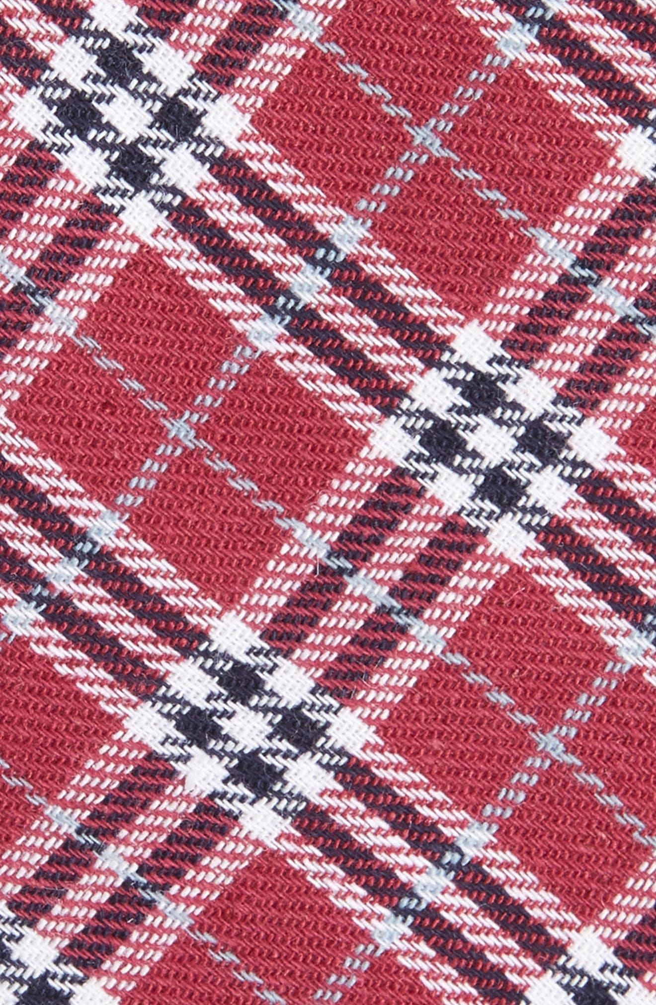 Siegel Plaid Cotton & Linen Skinny Tie,                             Alternate thumbnail 6, color,