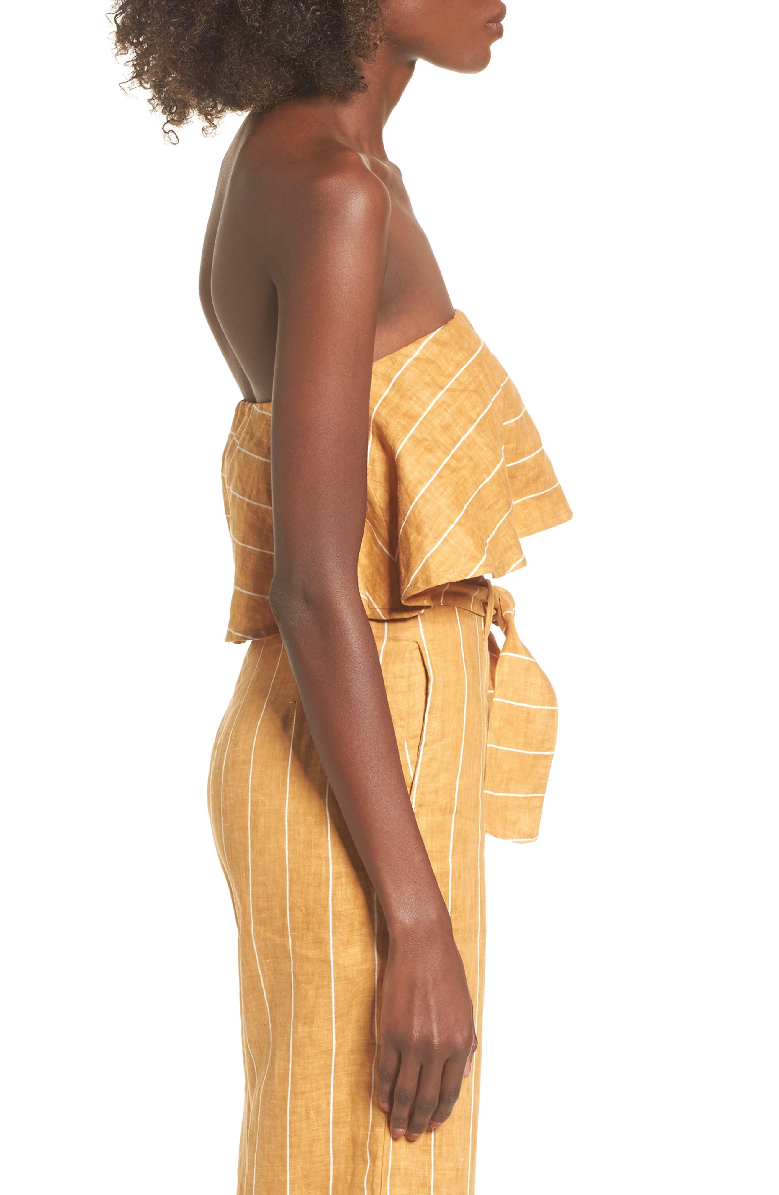 Solana Stripe Strapless Linen Crop Top,                             Alternate thumbnail 3, color,                             700