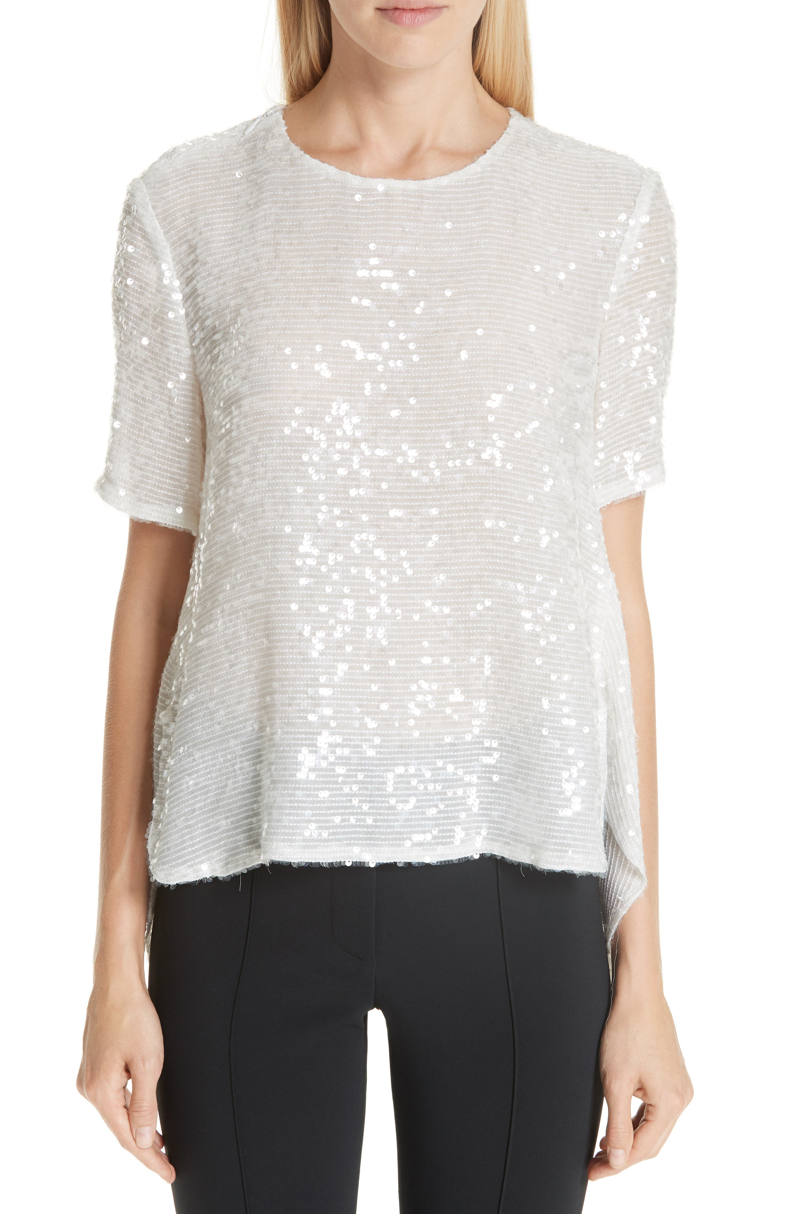 ADAM LIPPES Open Back Sequin Embroidered Blouse, Main, color, 906