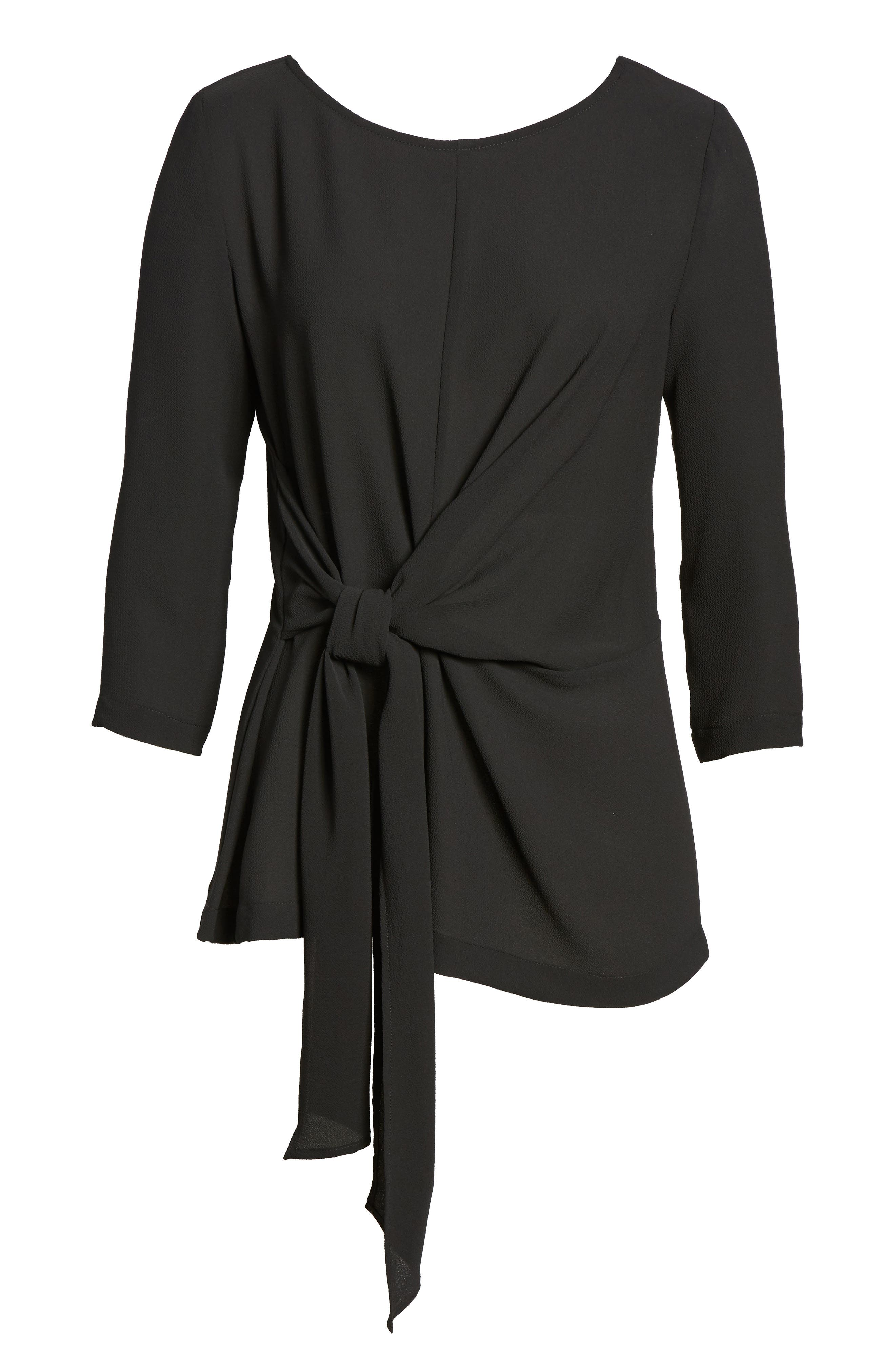 GIBSON,                             Tie Front Crepe Top,                             Alternate thumbnail 6, color,                             001