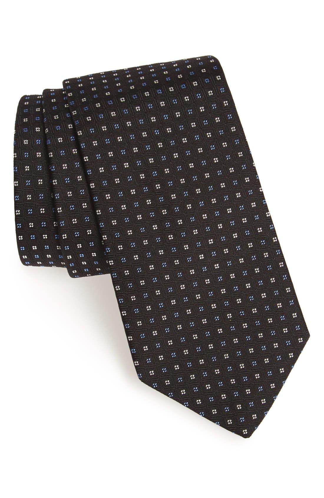 Geometric Silk Tie,                             Main thumbnail 1, color,                             BLACK