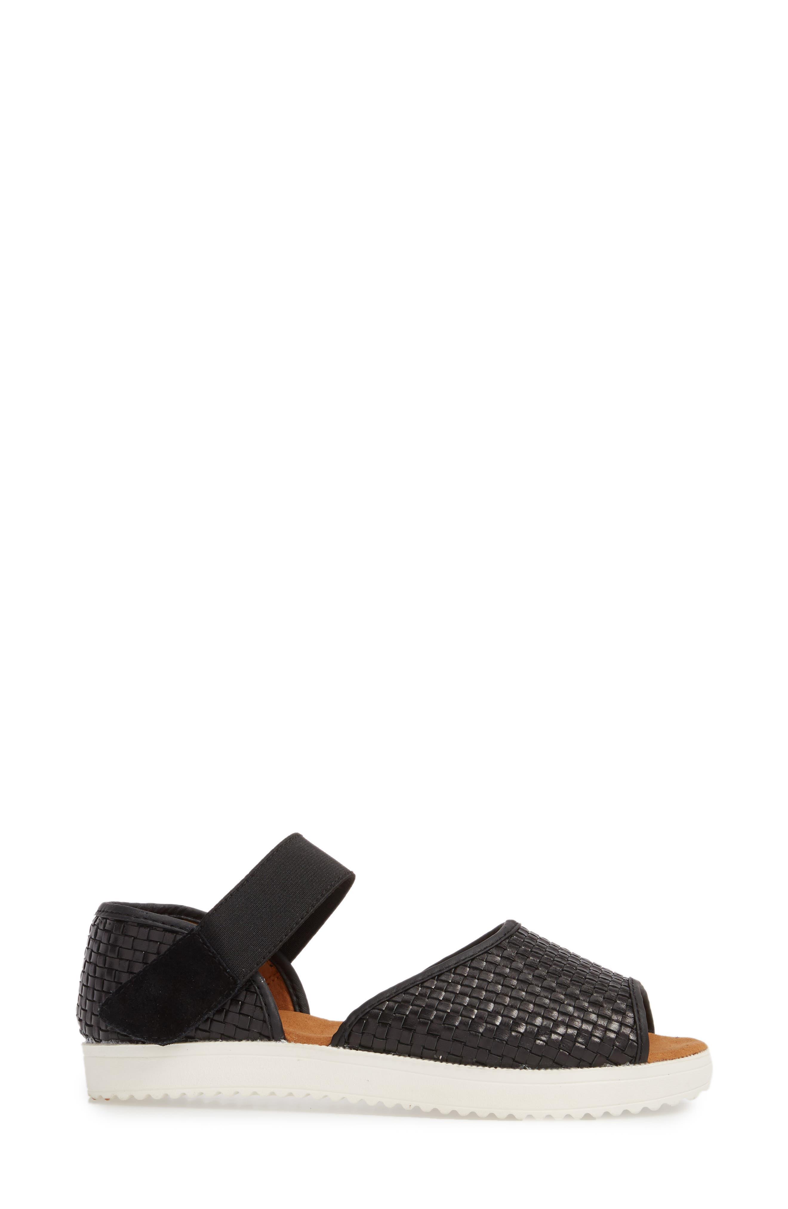 Havana Quarter Strap Sandal,                             Alternate thumbnail 3, color,                             BLACK LEATHER