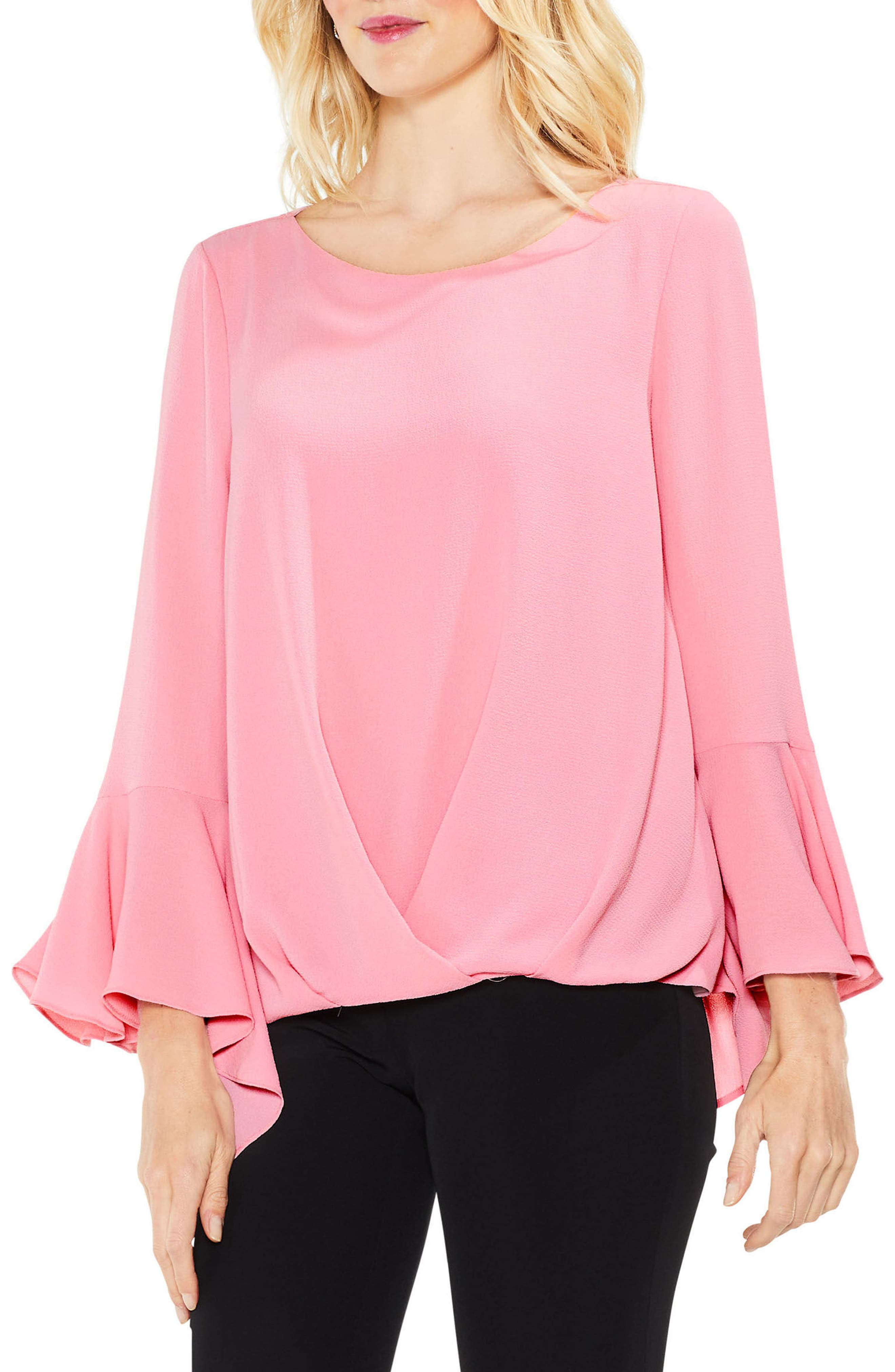 Bell Cuff Foldover Blouse,                             Main thumbnail 3, color,
