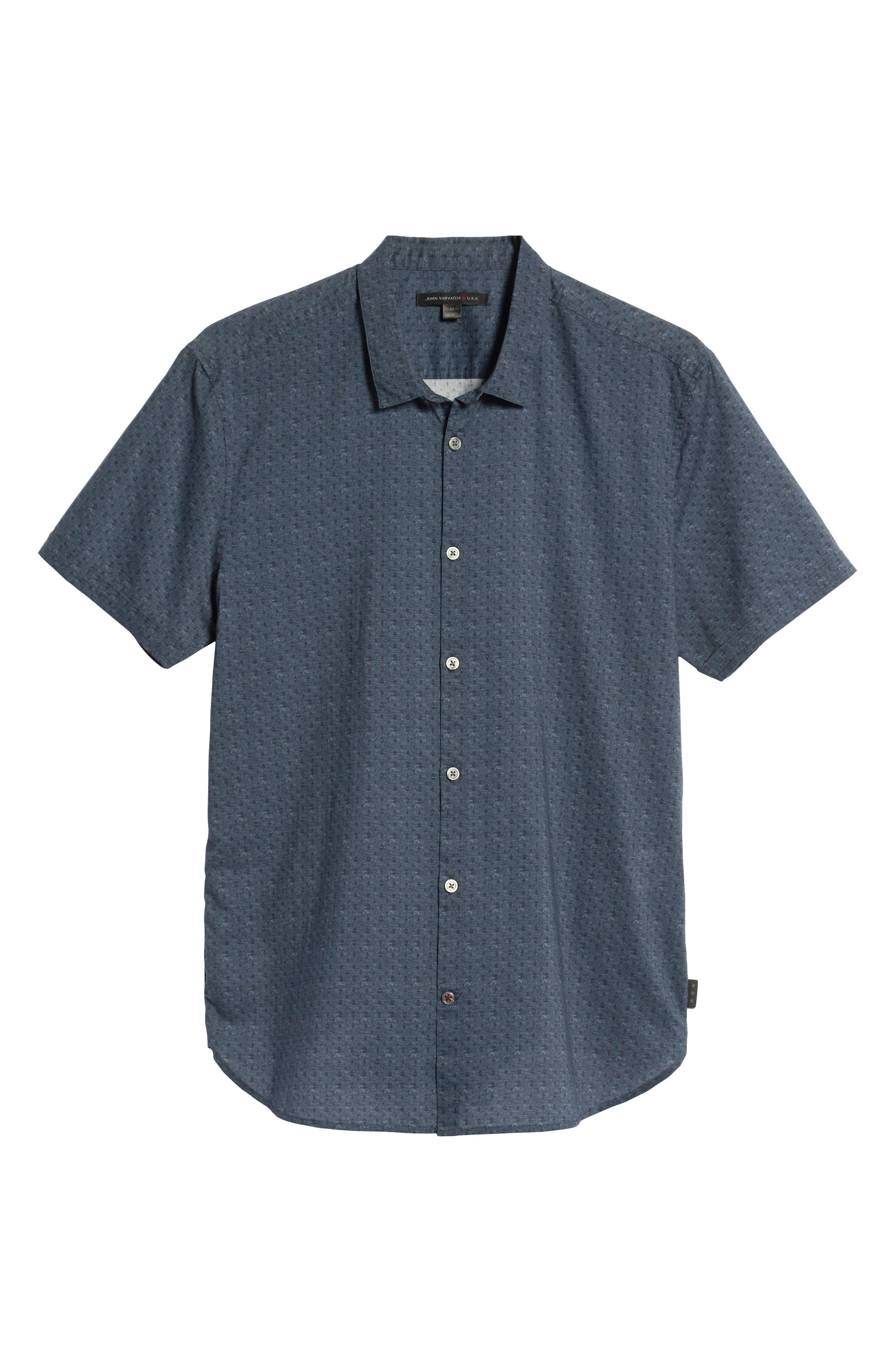 JOHN VARVATOS STAR USA,                             Regular Fit Foulard Print Sport Shirt,                             Alternate thumbnail 5, color,                             TITANIUM BLUE