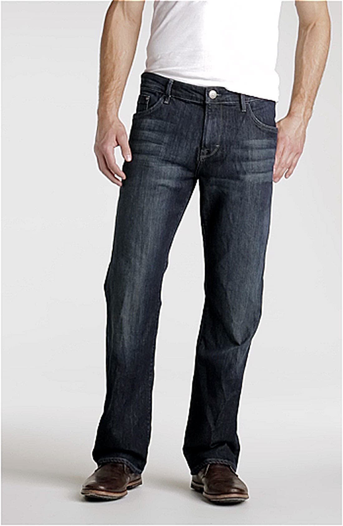 'Matt' Relaxed Fit Jeans,                             Alternate thumbnail 3, color,                             DEEP STANFORD COMFORT
