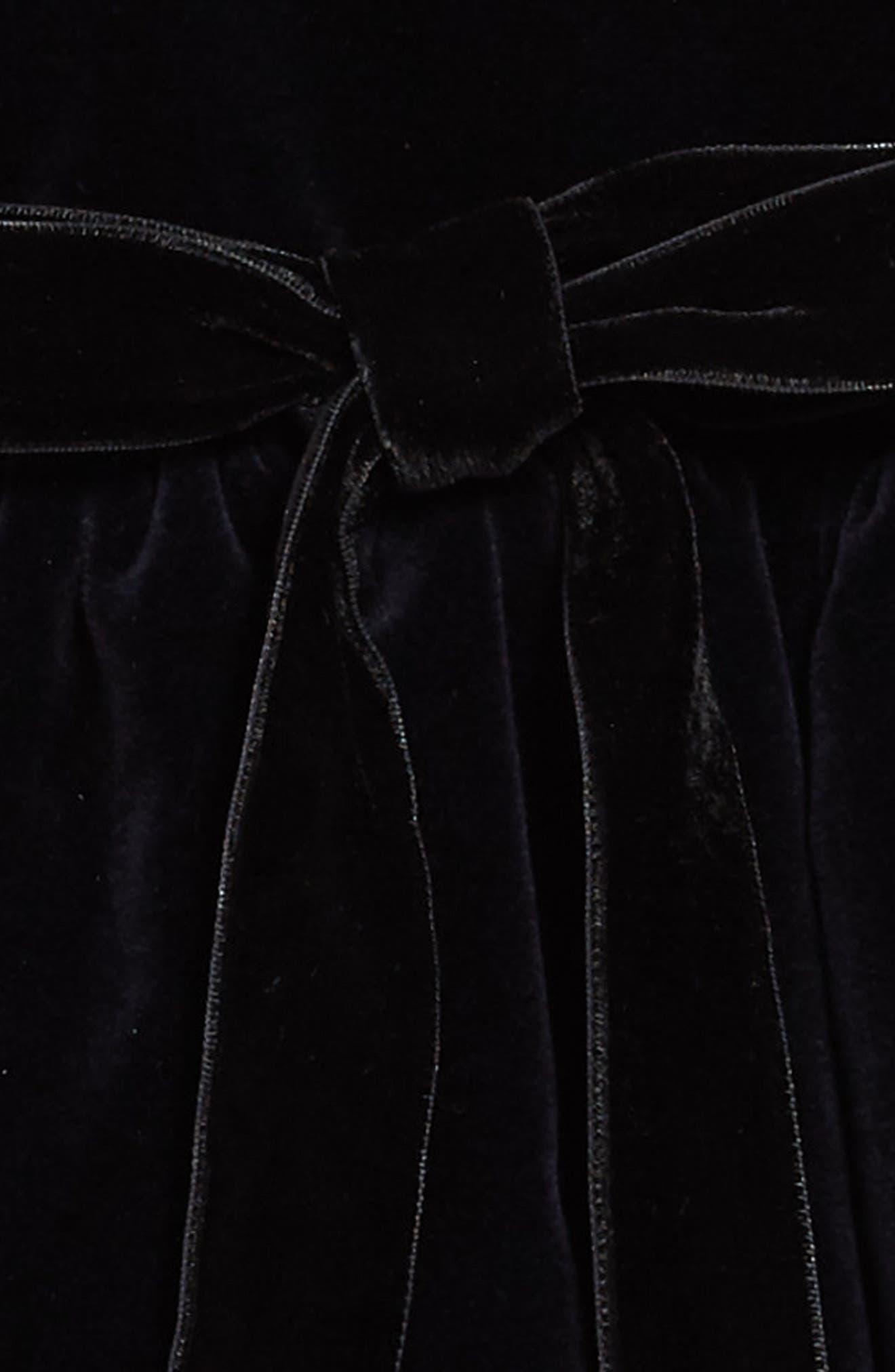 Belted Velvet Dress,                             Alternate thumbnail 3, color,                             NAVY