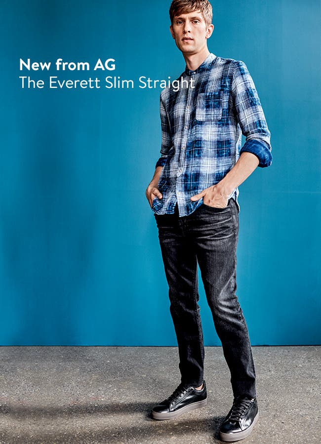 Spotlight on AG slim-straight pants and jeans for men.