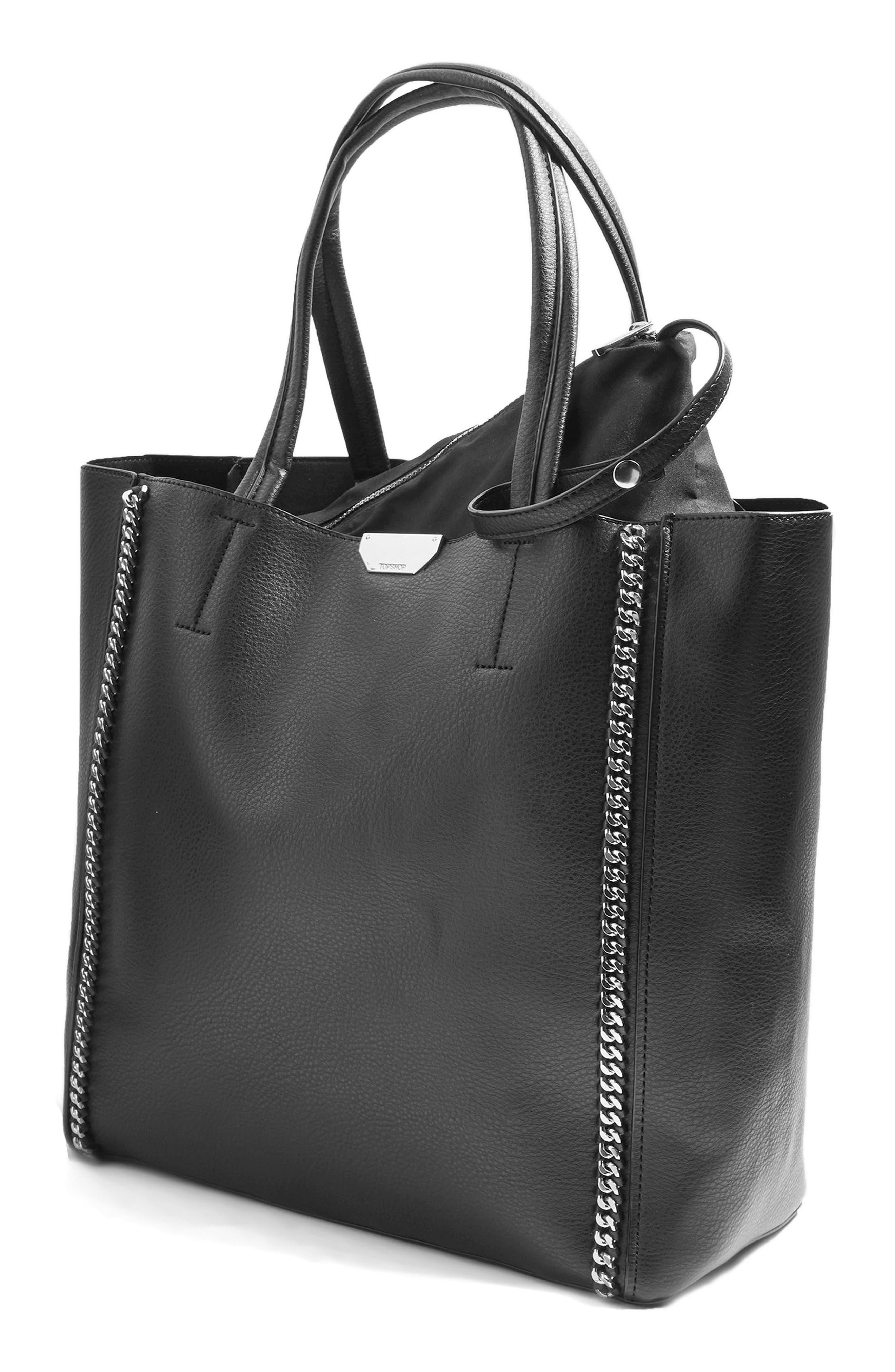 Sade Chain Shopper Bag,                             Alternate thumbnail 4, color,                             001