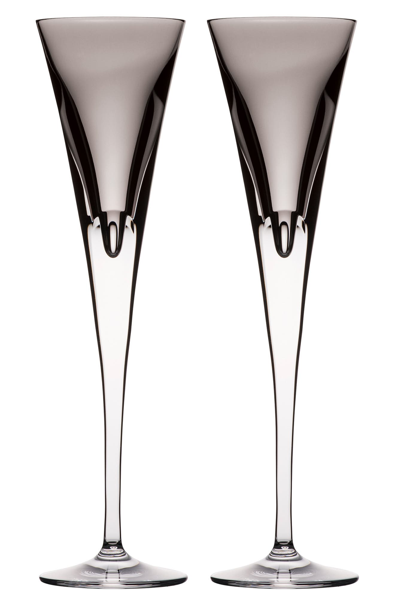 W Set of 2 Lead Crystal Champagne Flutes,                         Main,                         color, SHALE