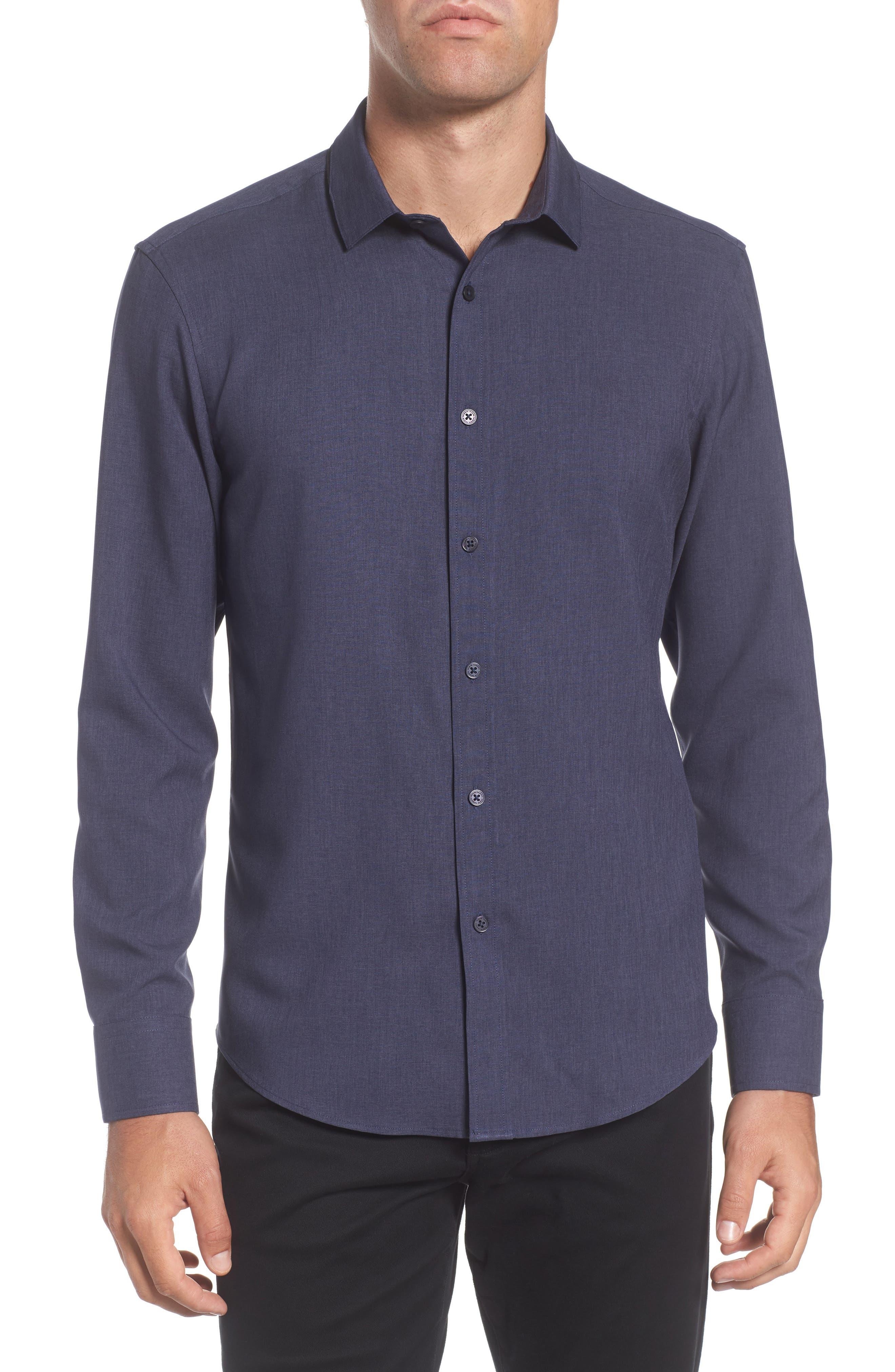 Trim Fit Performance Knit Sport Shirt,                         Main,                         color, NAVY