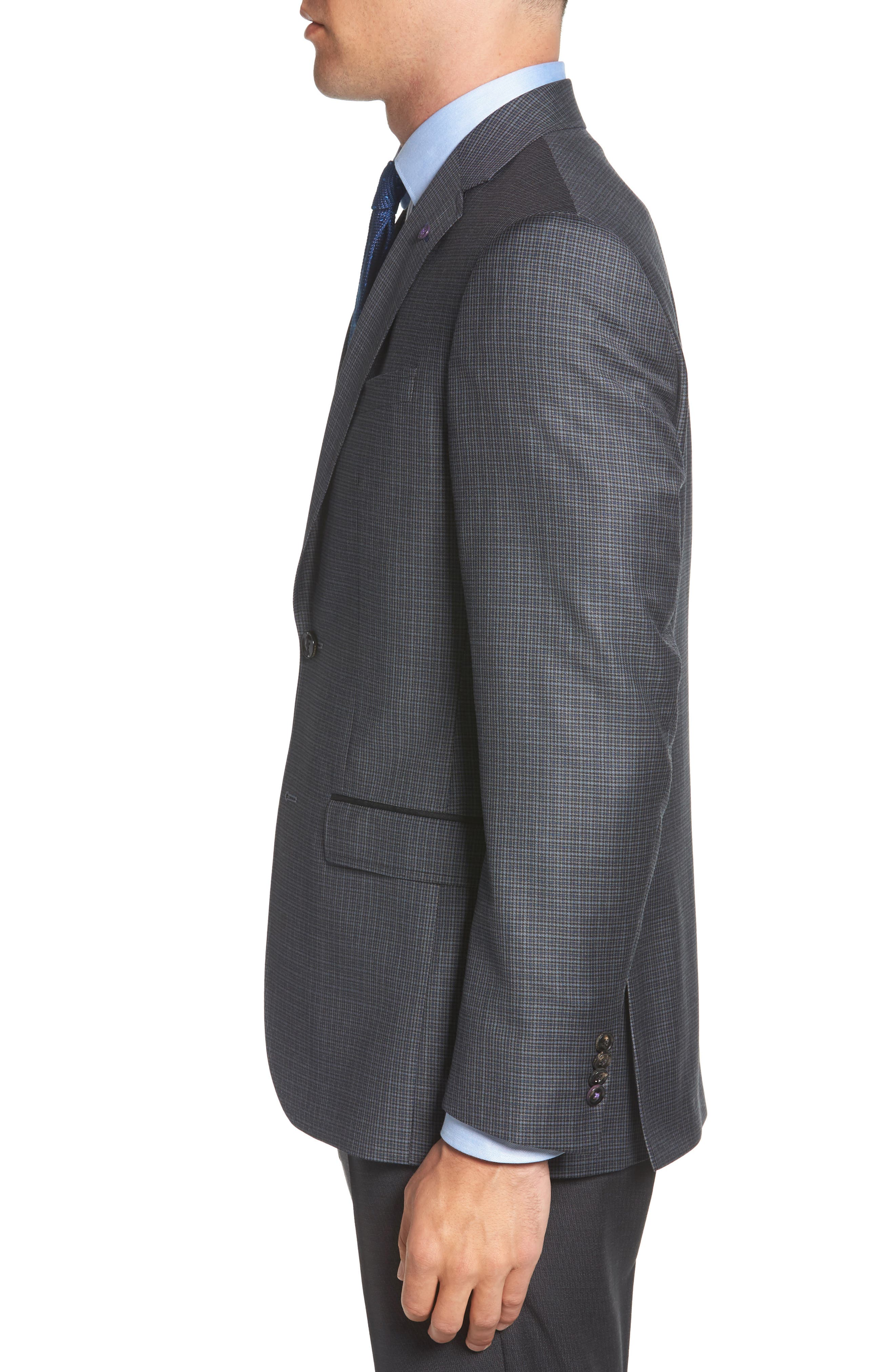TED BAKER LONDON,                             Jed Trim Fit Microcheck Wool Sport Coat,                             Alternate thumbnail 3, color,                             020