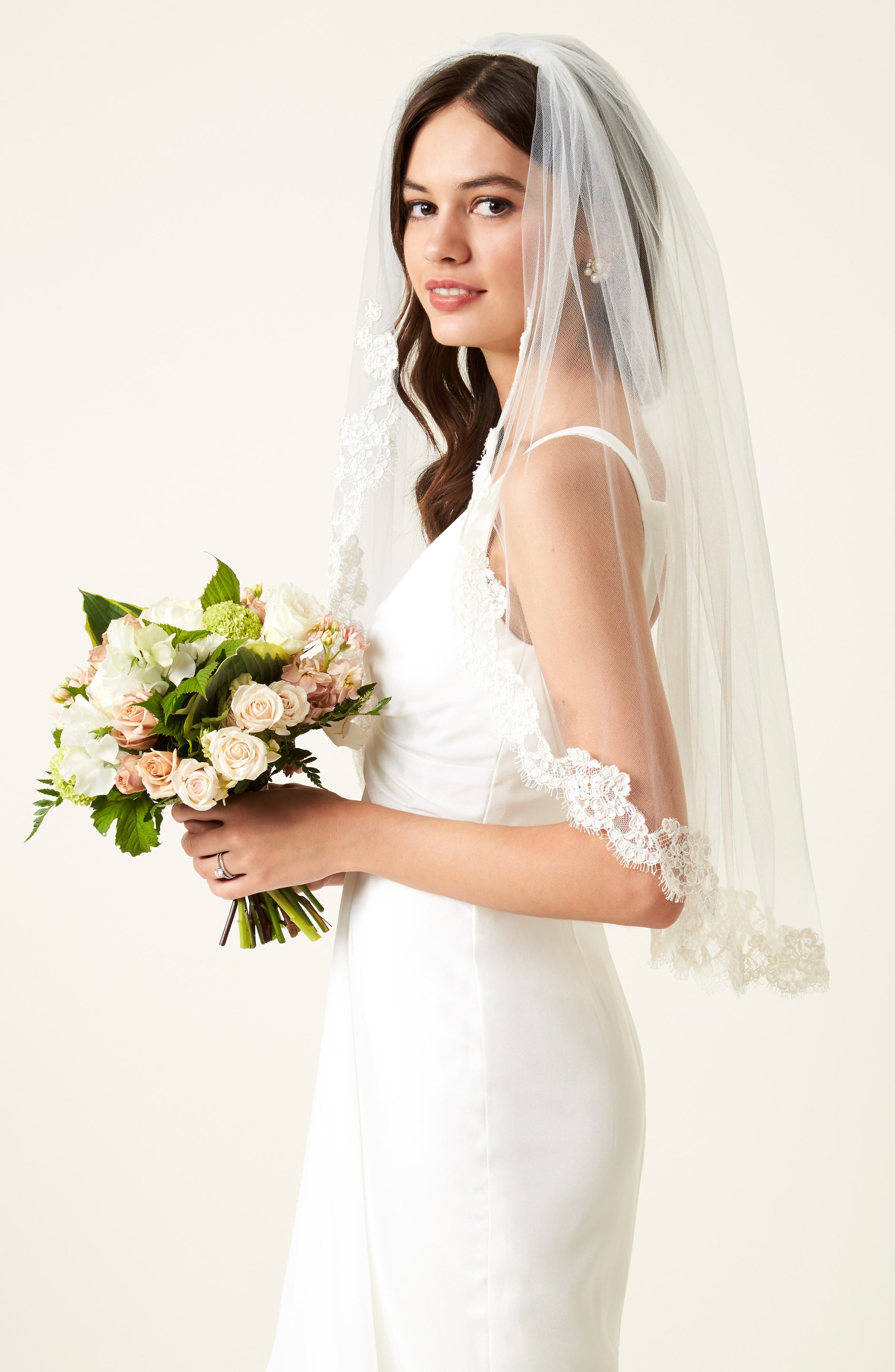 VEIL TRENDS,                             Poppy Lace Bridal Veil,                             Alternate thumbnail 3, color,                             900