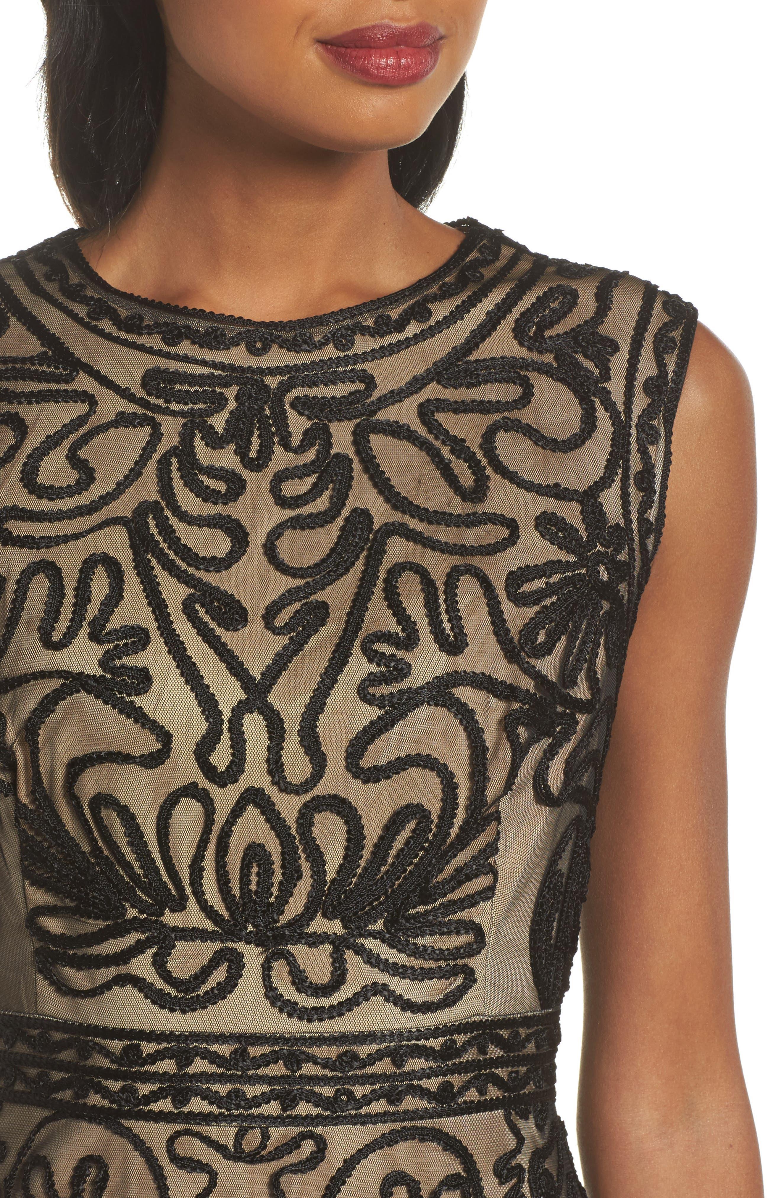 Soutache Fit & Flare Dress,                             Alternate thumbnail 4, color,                             001