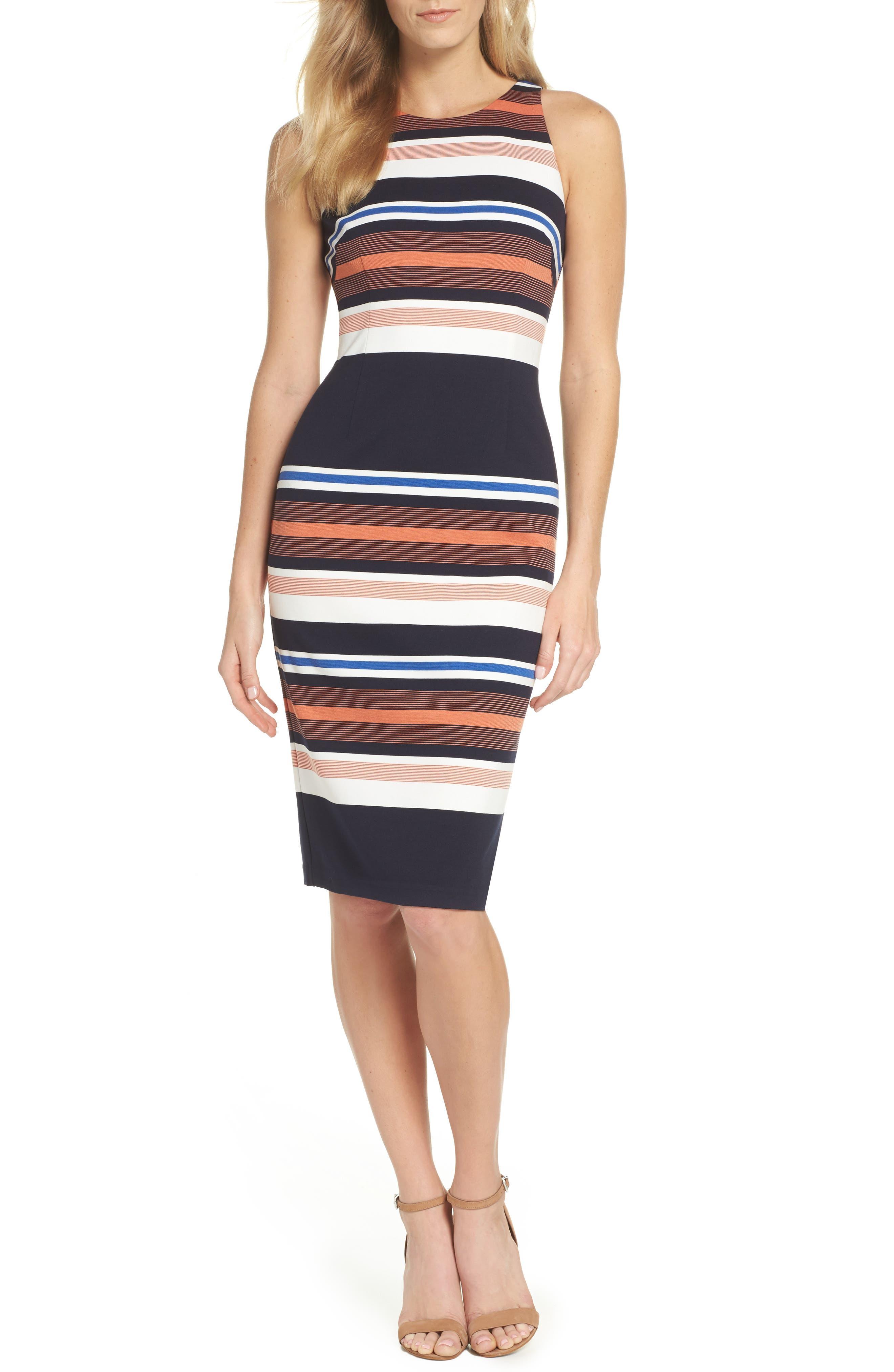 Stripe Body-Con Dress,                         Main,                         color, 001