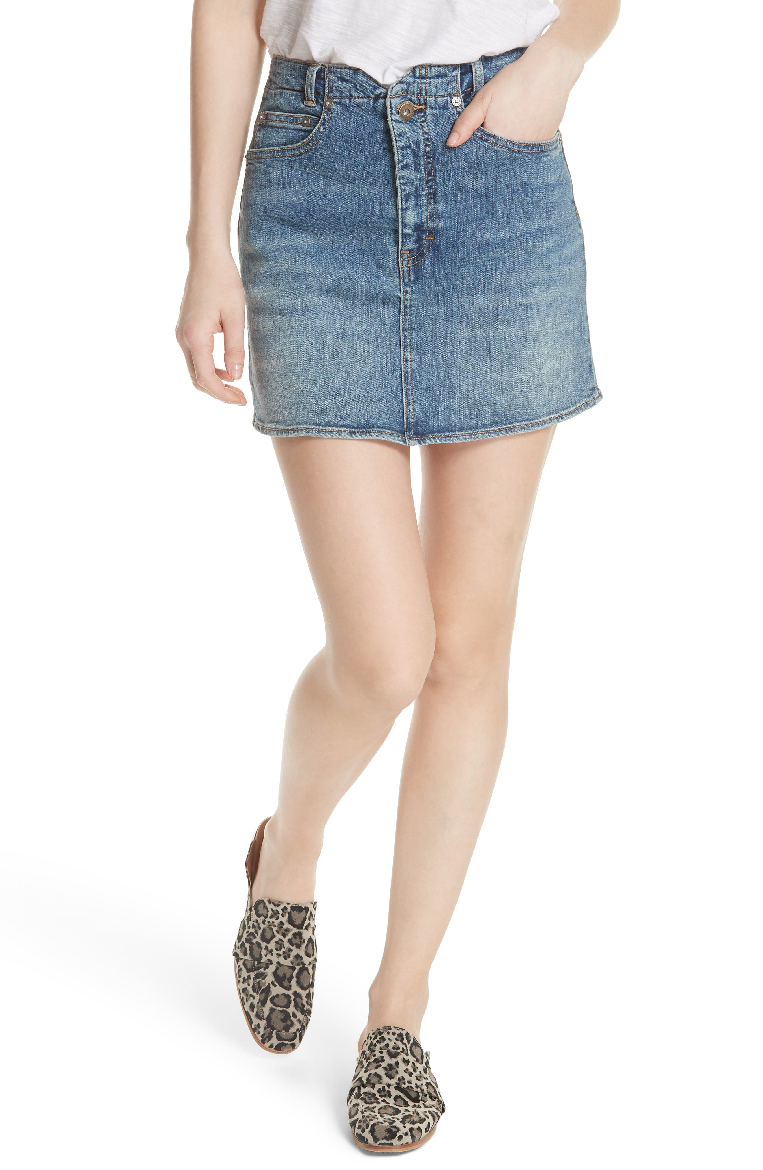 FREE PEOPLE She's All That Denim Miniskirt, Main, color, 425