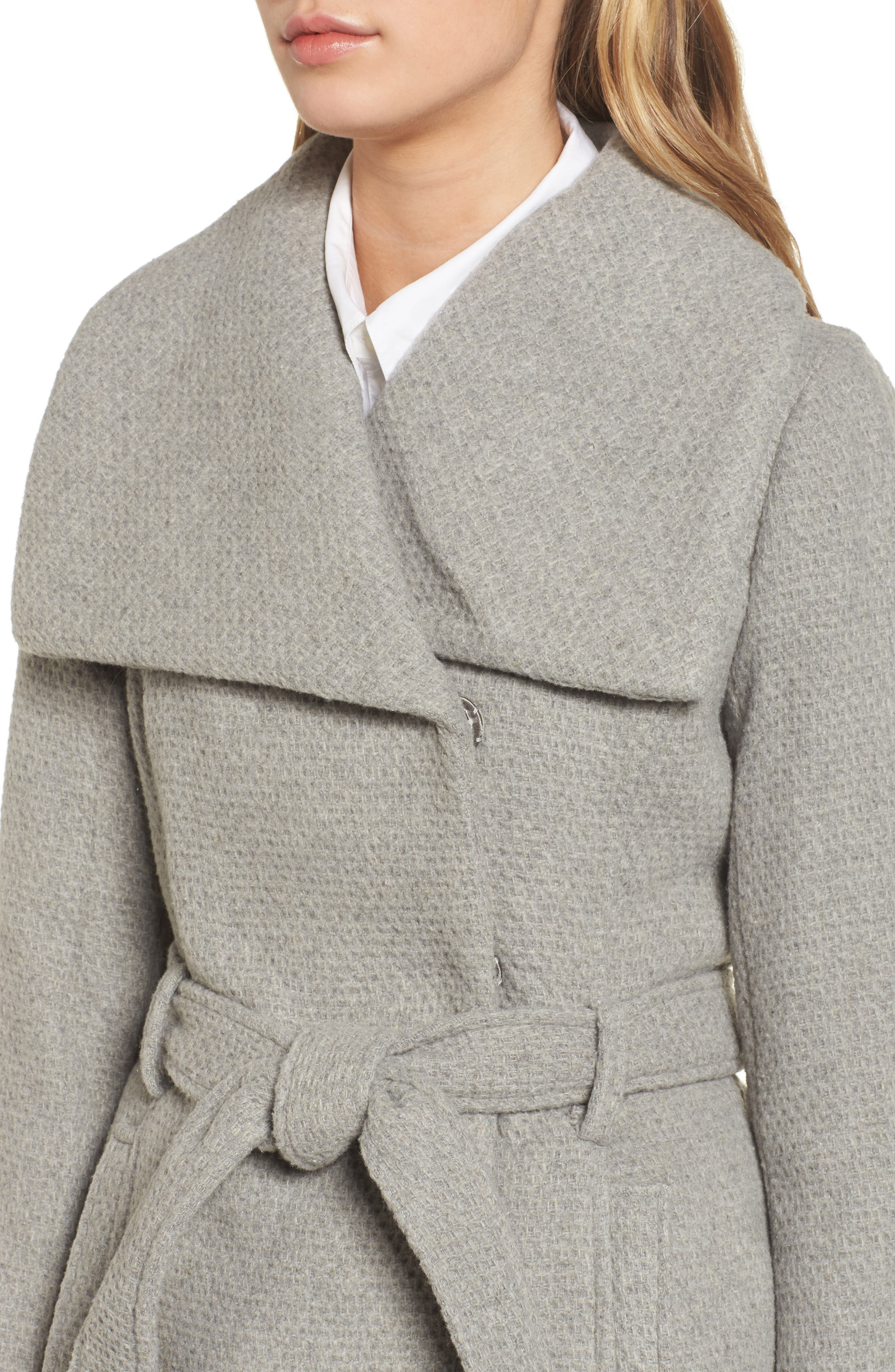 Belted Waffle Woven Coat,                             Alternate thumbnail 4, color,                             038