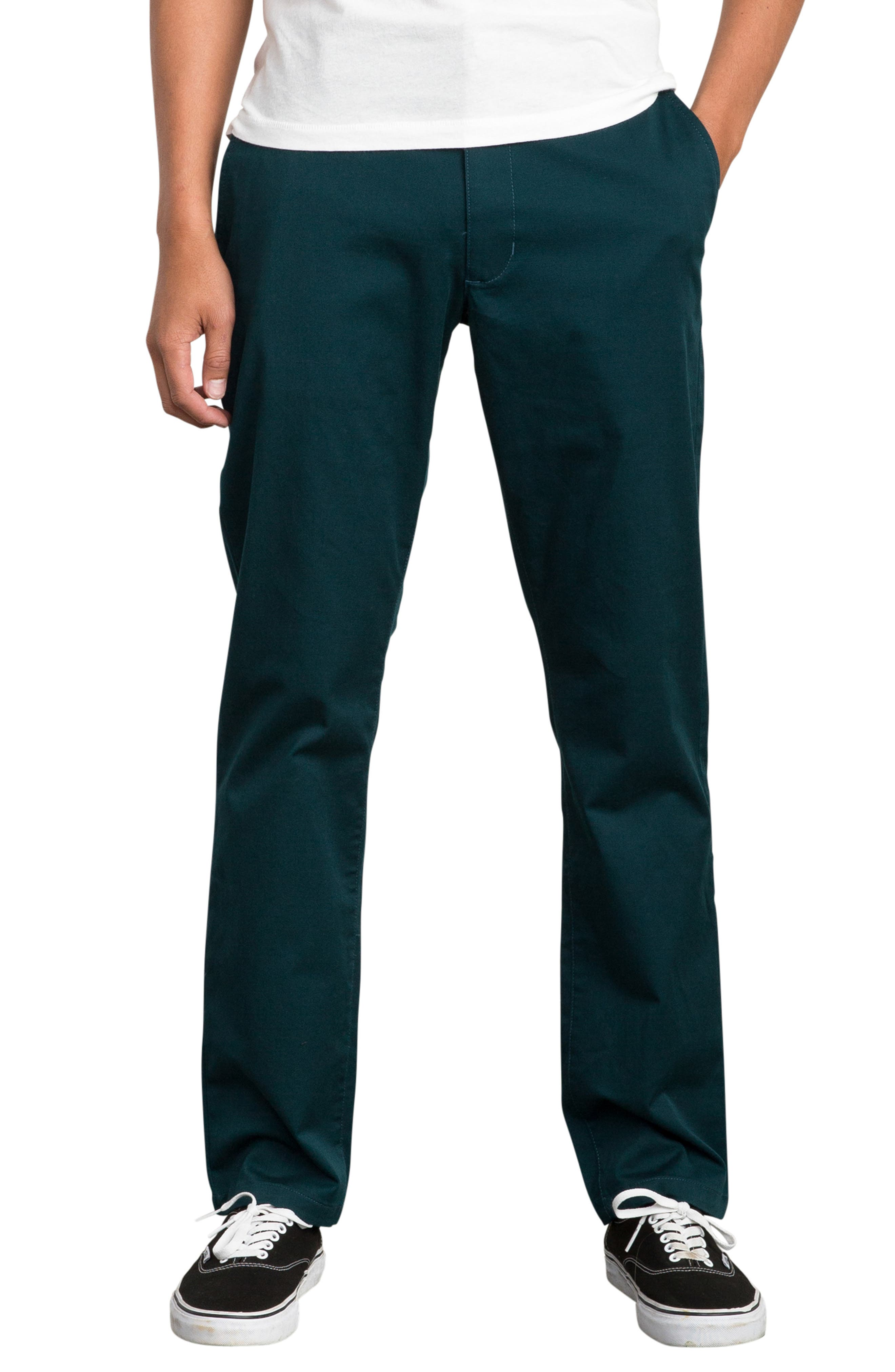 'The Week-End' Slim Straight Leg Stretch Twill Chinos,                             Main thumbnail 1, color,                             DARK FOREST